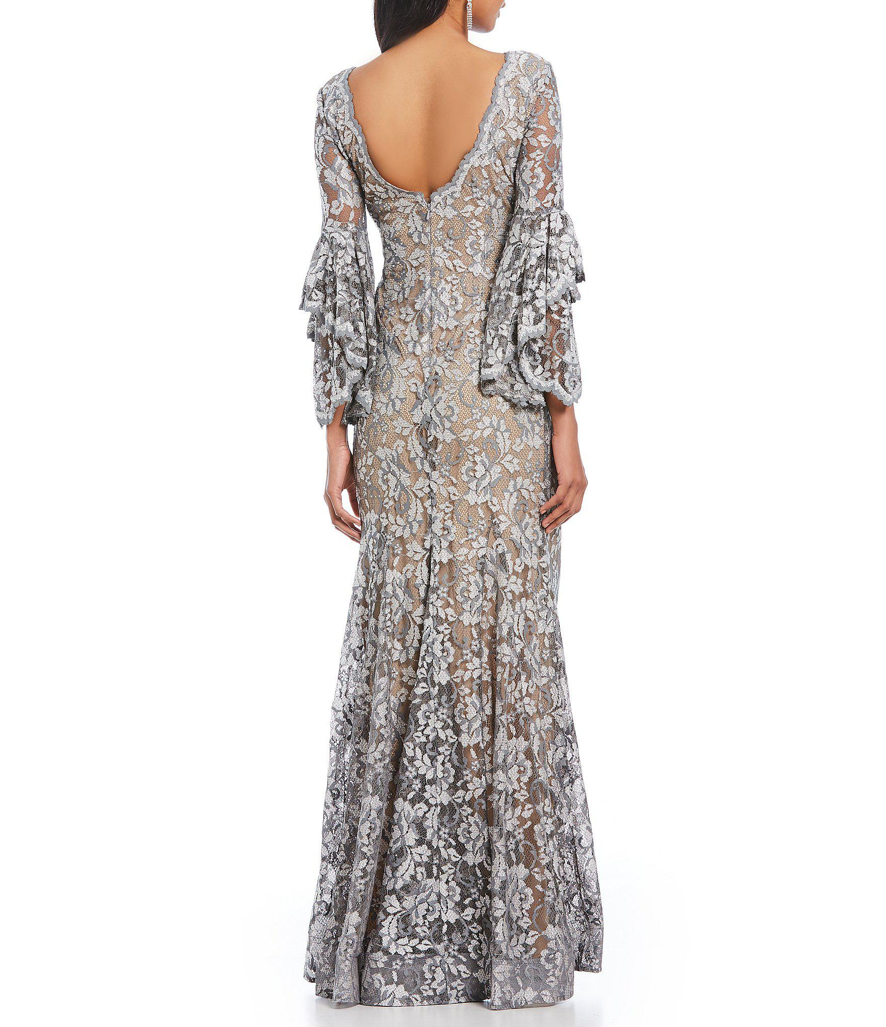 e4733afab16 Betsy   Adam V-neck Lace Bell Sleeve Gown in Gray - Lyst