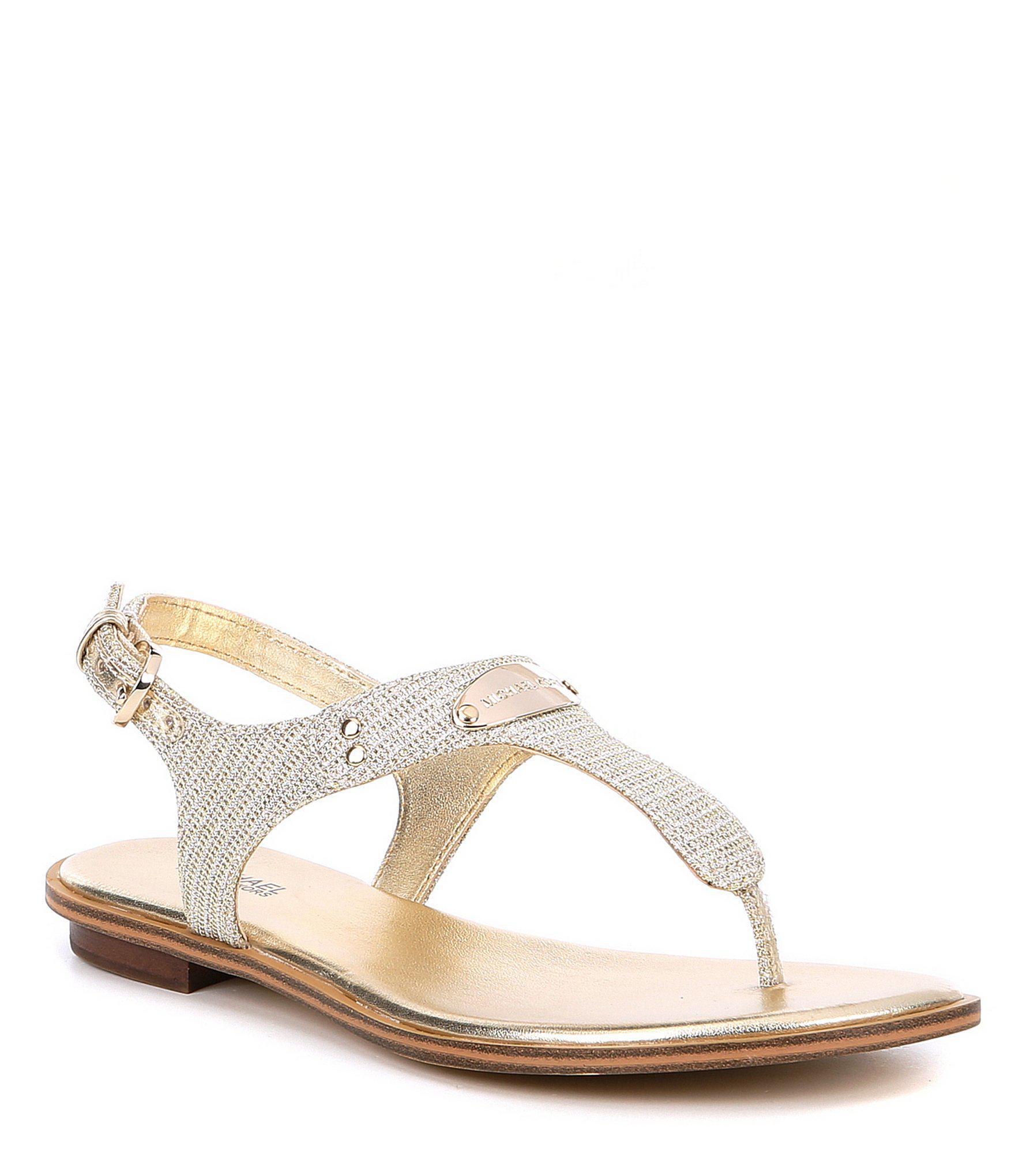 f8c5c8e1aa63ff MICHAEL Michael Kors Mk Plate Glitter Thong Sandals in Metallic - Lyst