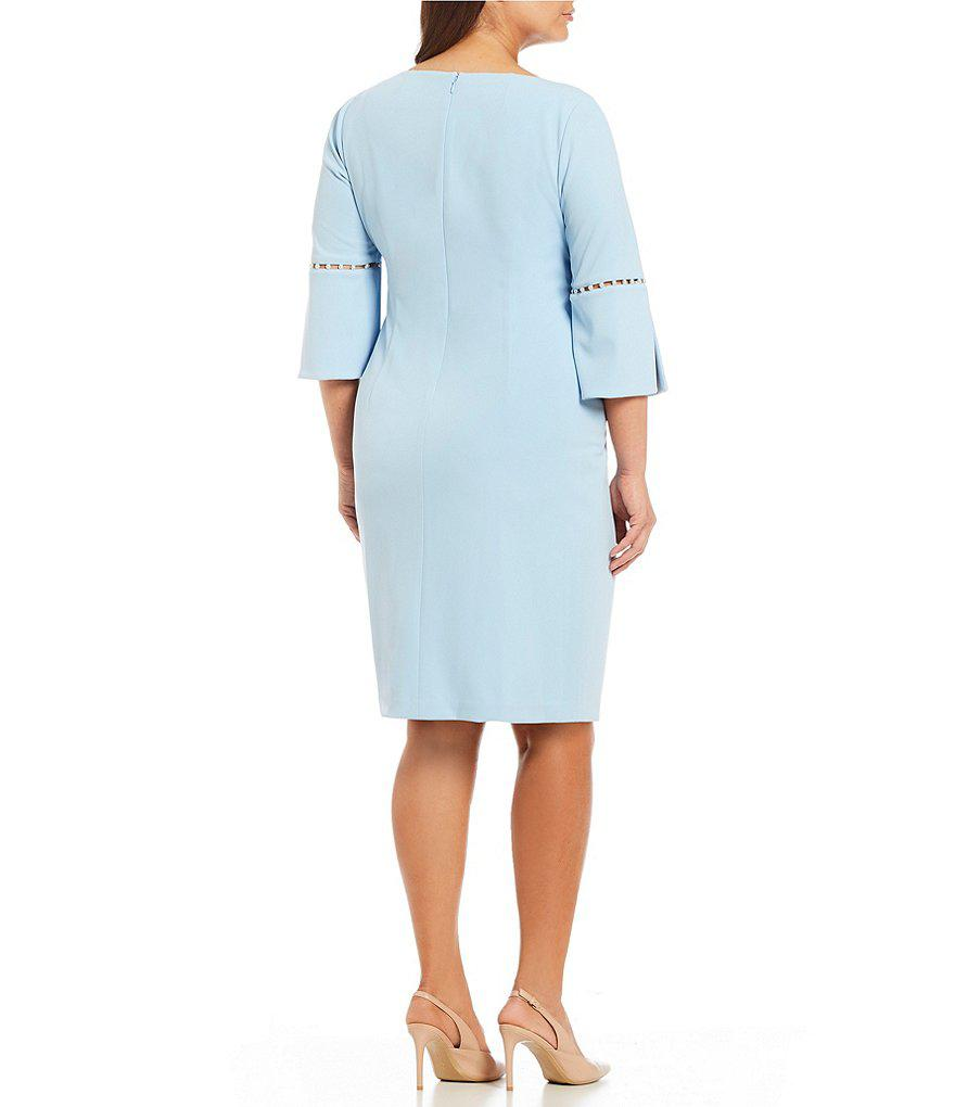 a0652fba CALVIN KLEIN 205W39NYC Plus Pearl Inset Split Sleeve Sheath Dress in ...