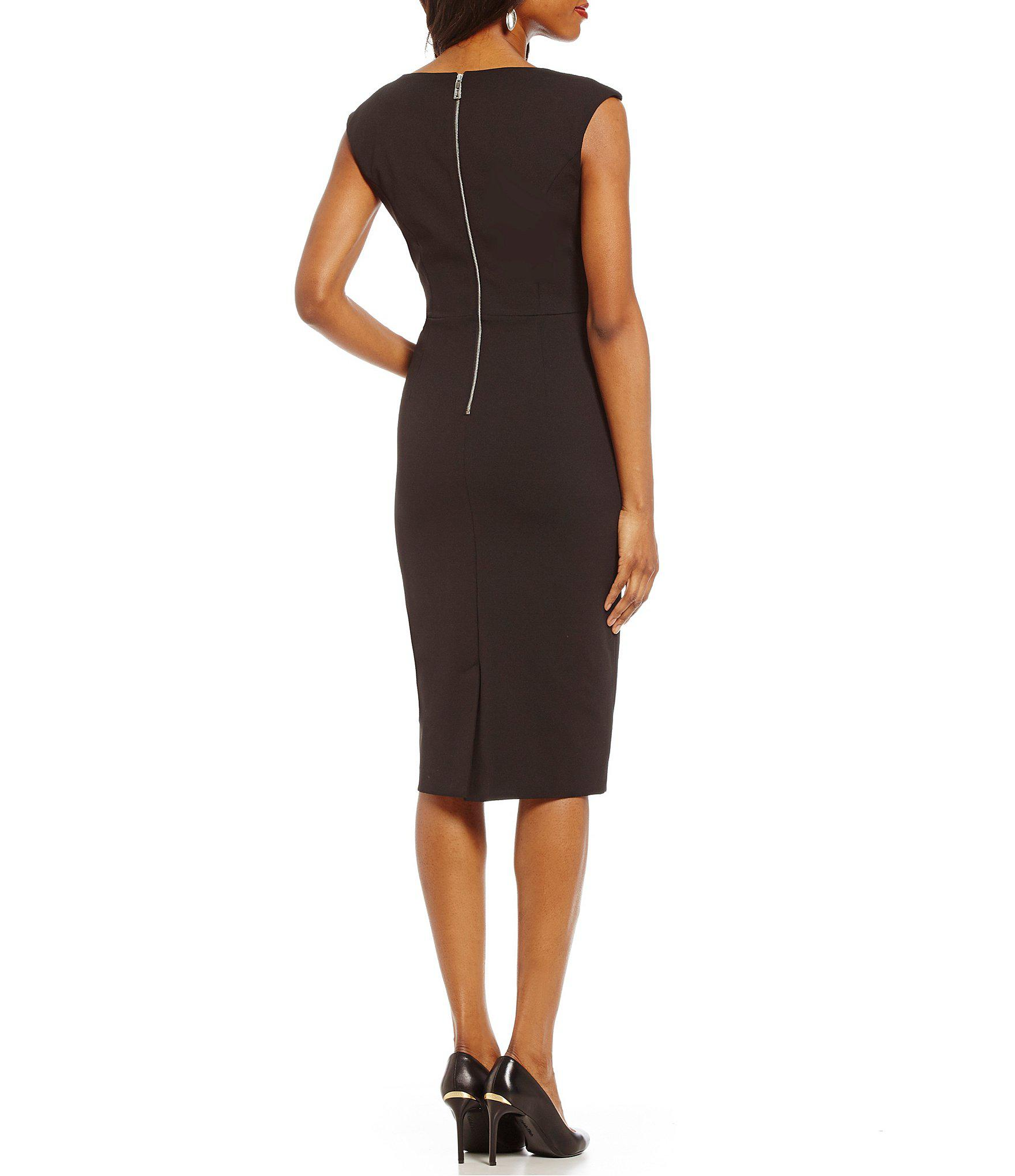 889e082af3f Ivanka Trump - Black Compression Panel Scuba Crepe Sheath Dress - Lyst.  View fullscreen