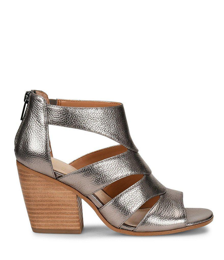 Rona Metallic Leather Block Heel Dress Sandals d0Z6dh