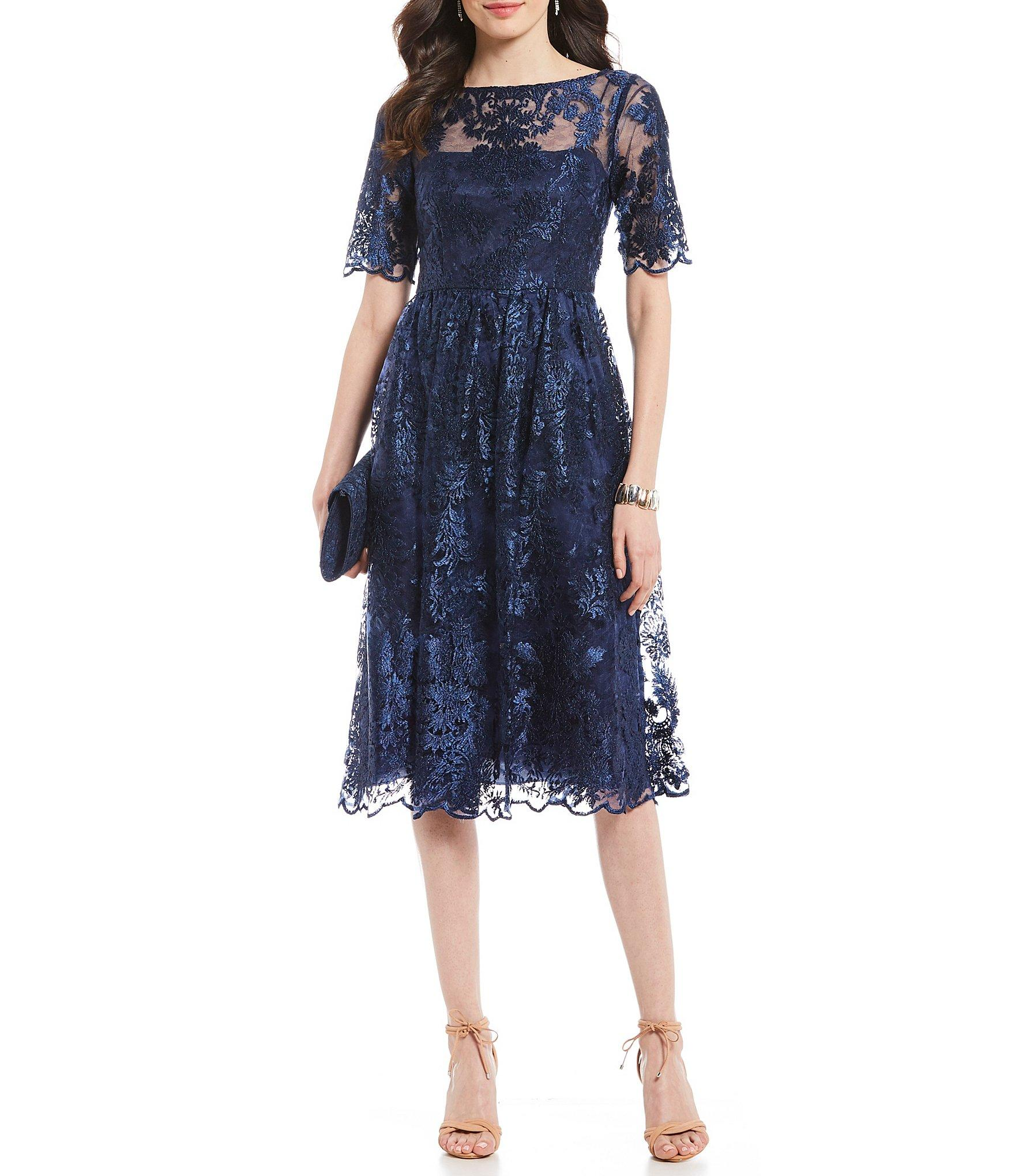 a54c6d56 Lyst - Adrianna Papell Embroidered Lace A-line Midi Dress in Blue