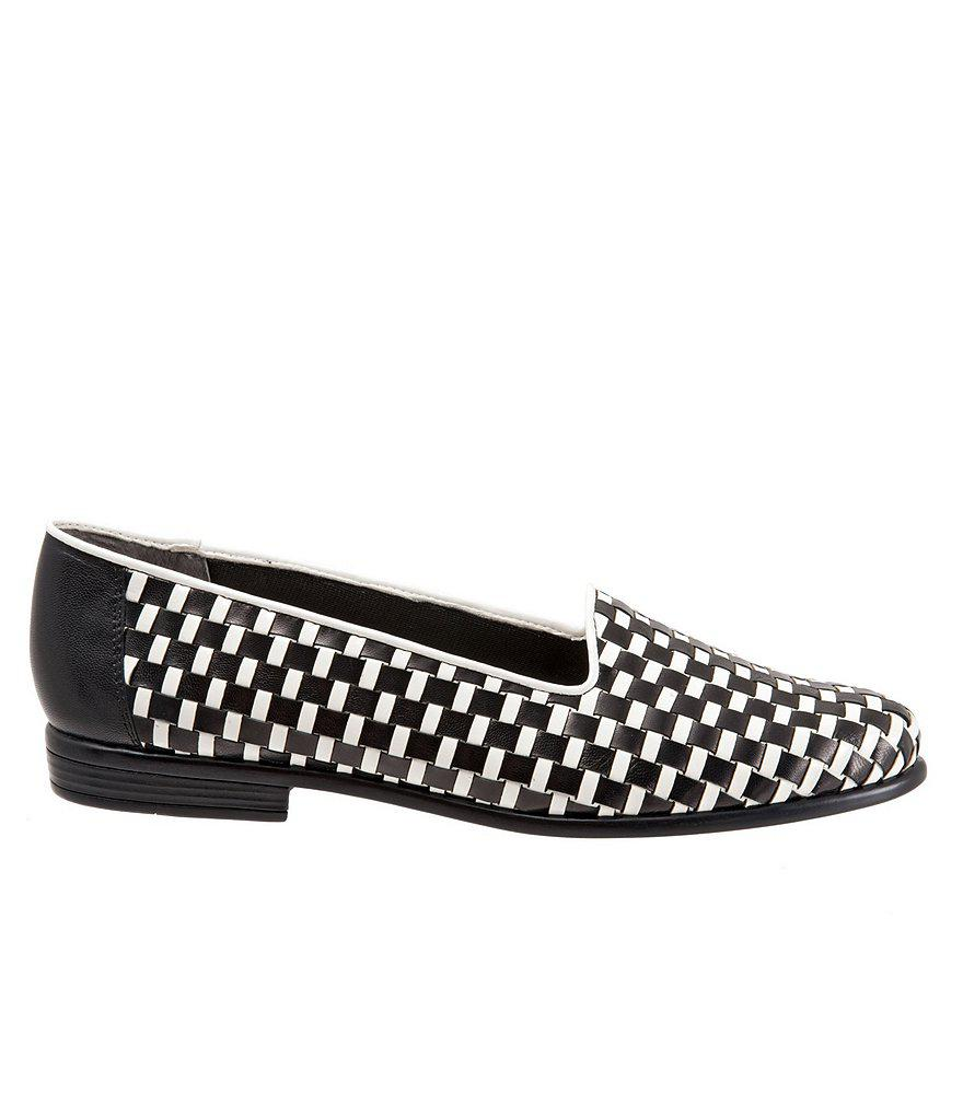 Trotters Liz Woven Leather and Patent Block Heel Loafers 5JqoEtIf
