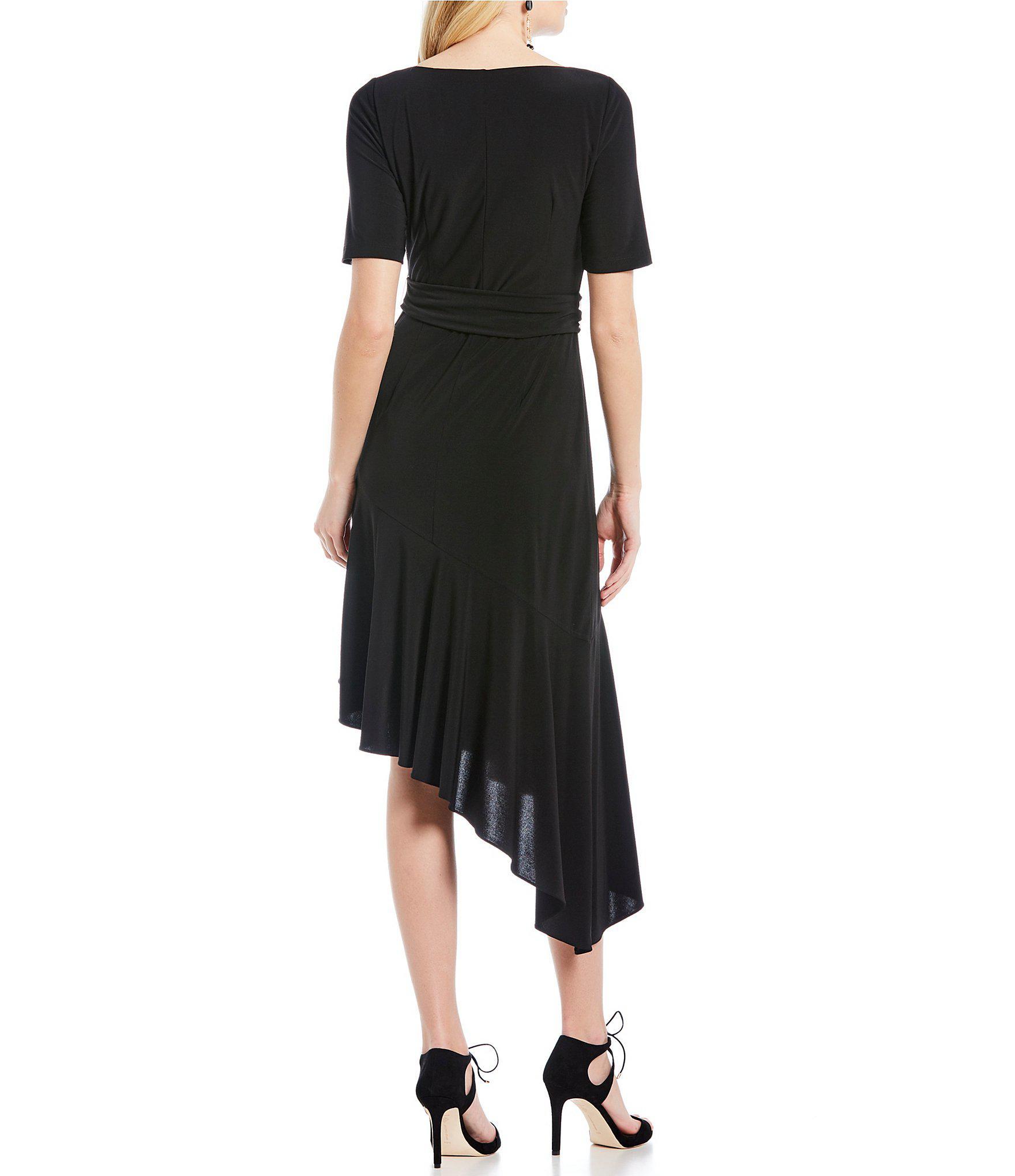 df17f7c82567 Adrianna Papell - Black Asymmetrical Ruffle Tie Front Jersey Dress - Lyst.  View fullscreen