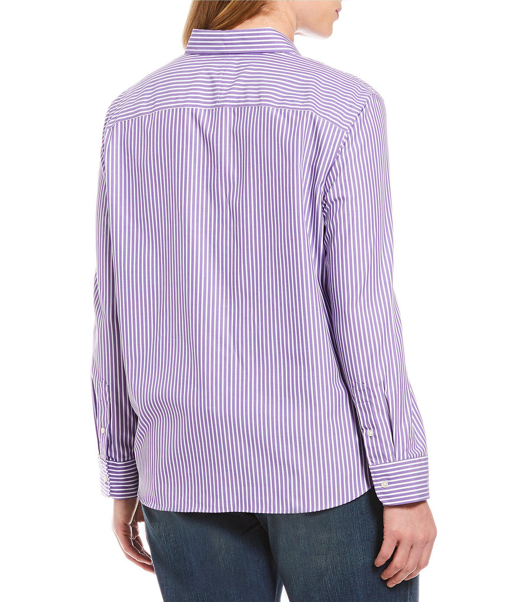ddada6eb Lauren by Ralph Lauren - Purple Plus Size Cotton Button-down Shirt - Lyst.  View fullscreen