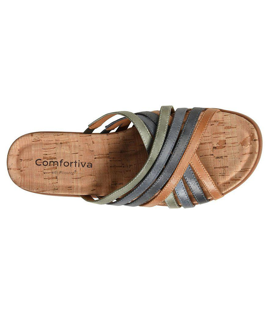 Comfortiva Cayce Mixed Leather Strap Slip-On Sandals D6ruBWz3ww