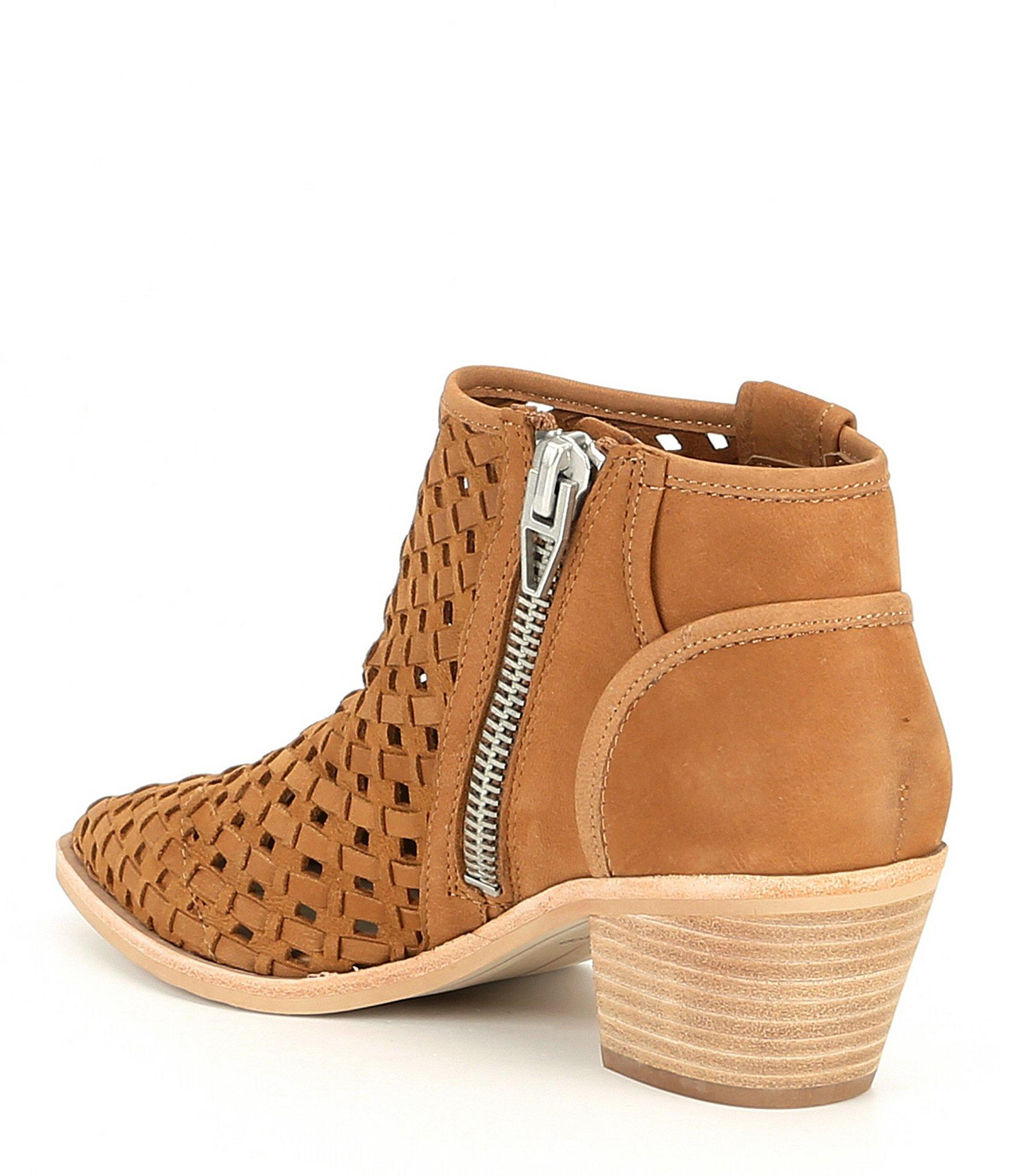 920ef061473 Dolce Vita - Brown Spence Perforated Leather Block Heel Booties - Lyst.  View fullscreen