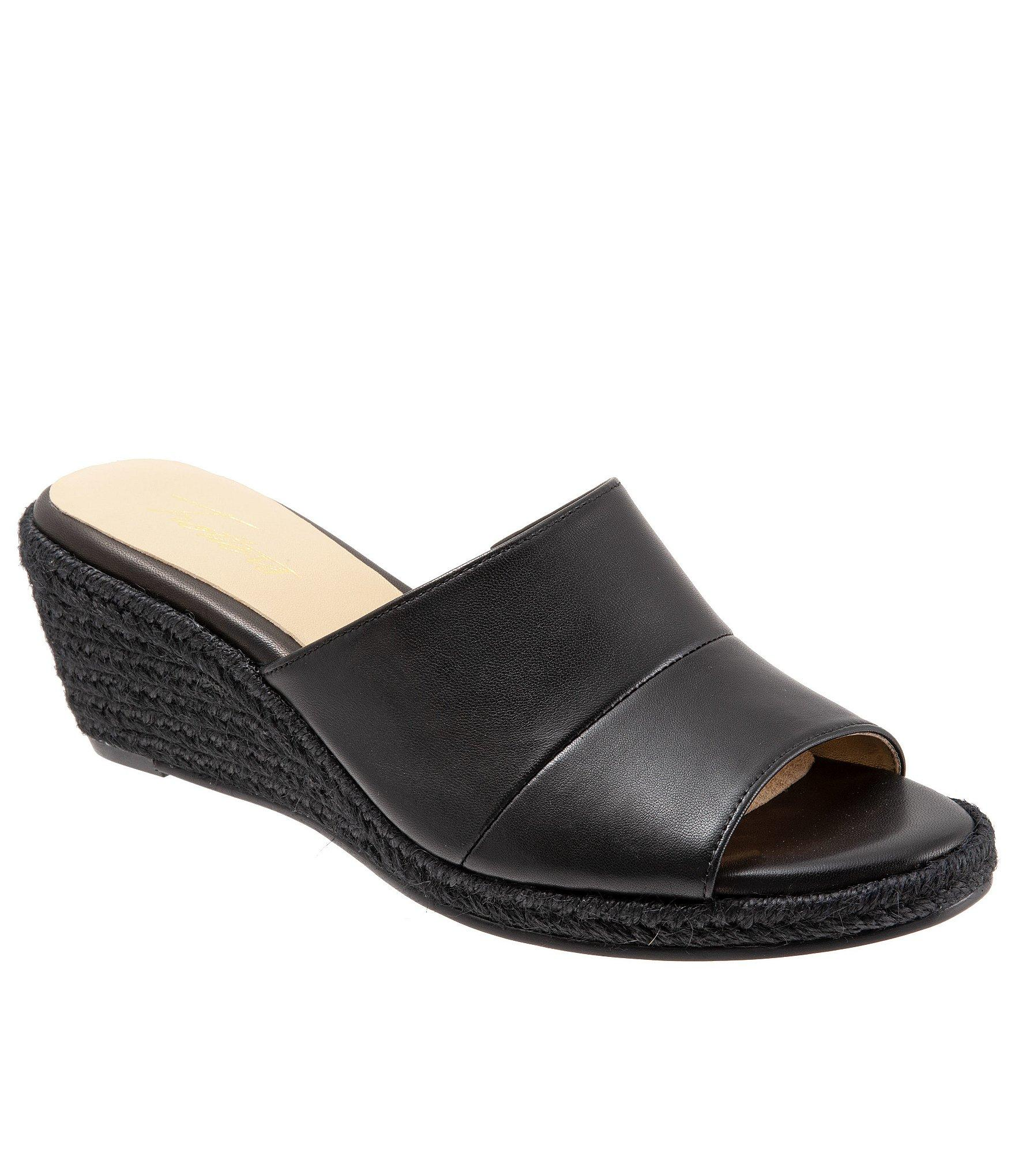 db504ebee3dfe4 Lyst - Trotters Colony Leather Raffia Wedge Slide Sandals in Black
