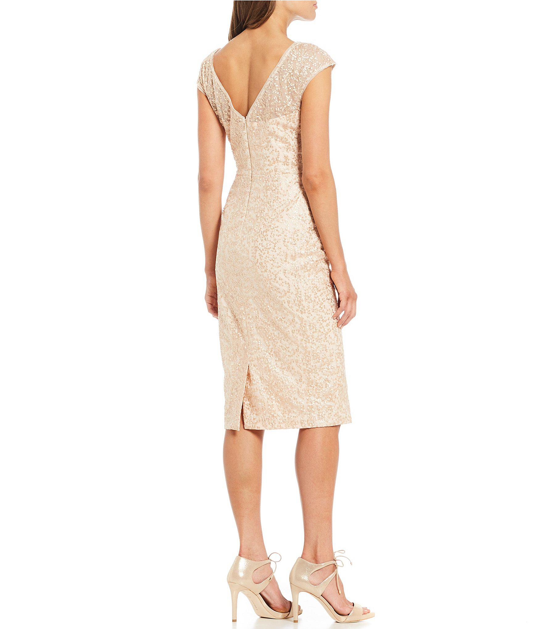 Lyst Maggy London Lace Midi Length Sheath Dress In Natural