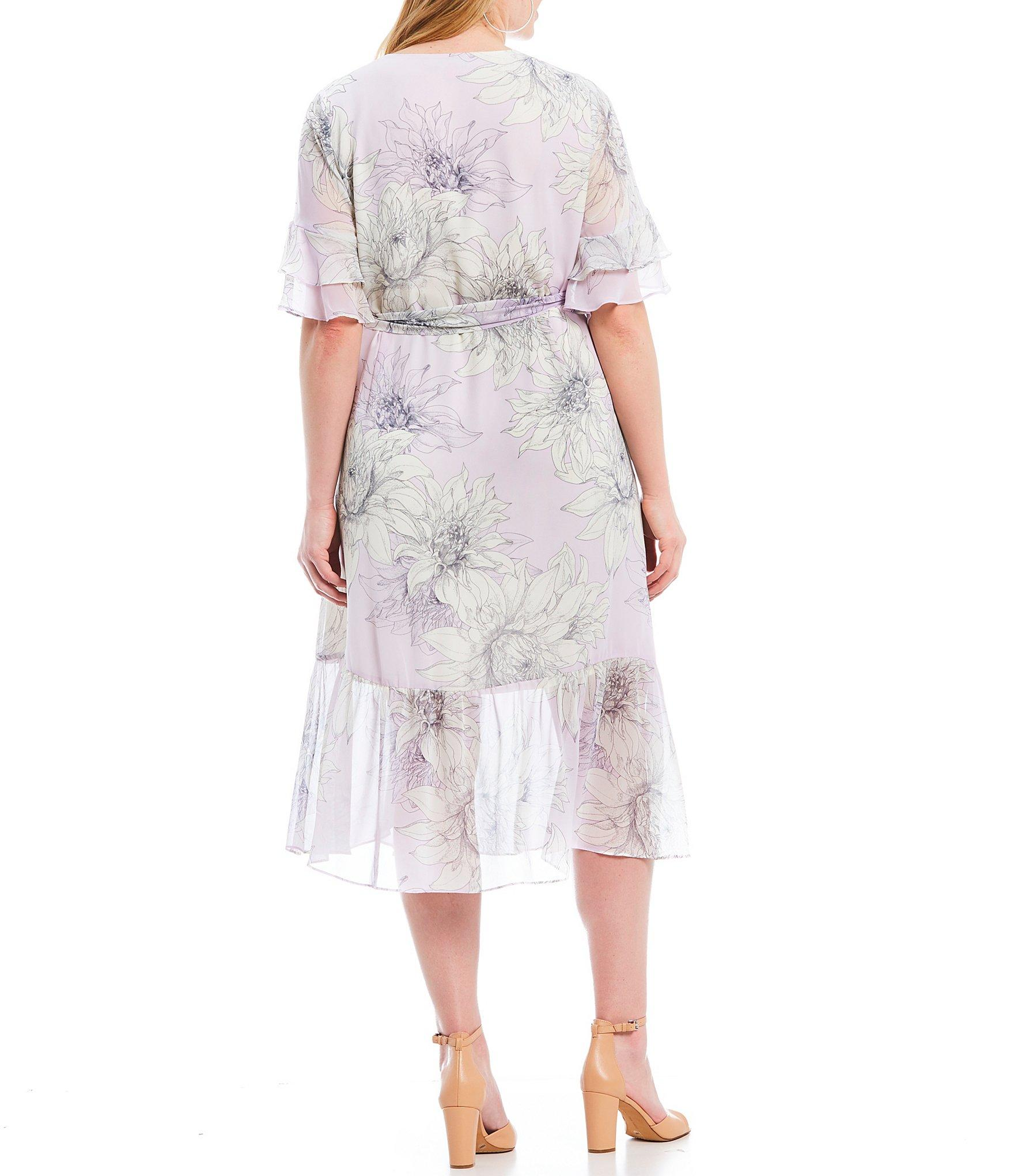 47513072e84 Vince Camuto - Multicolor Plus Size Floral Print Tiered Ruffle Short Sleeve  Midi Length Wrap Dress. View fullscreen