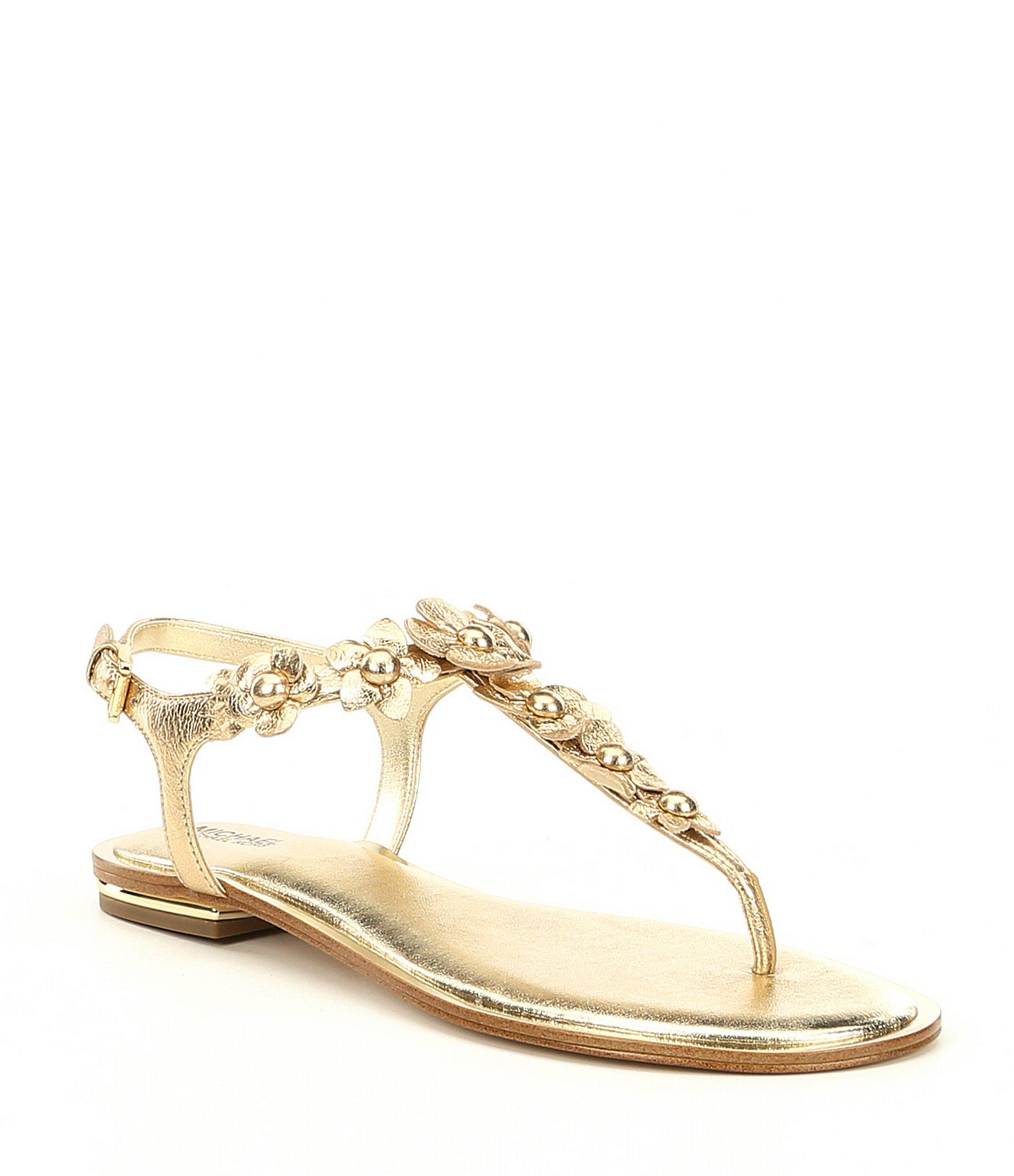 816055b6b862 Lyst - MICHAEL Michael Kors Tricia Metallic Floral Thong Sandals in ...