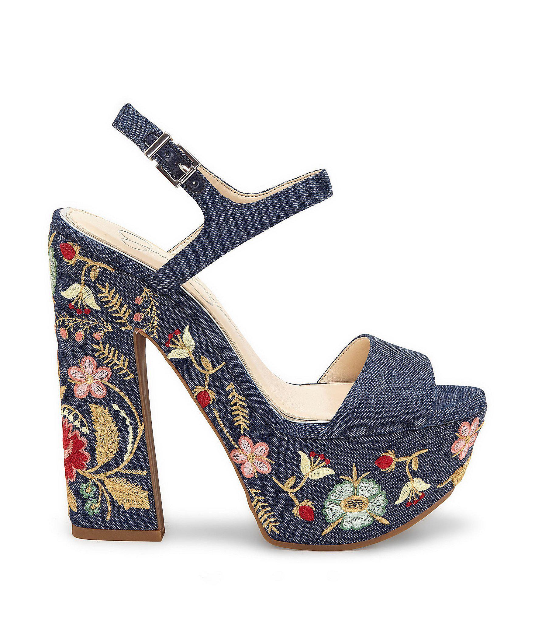 ba0360309b1 Lyst - Jessica Simpson Divella2 Denim Floral Platform Sandal in Blue