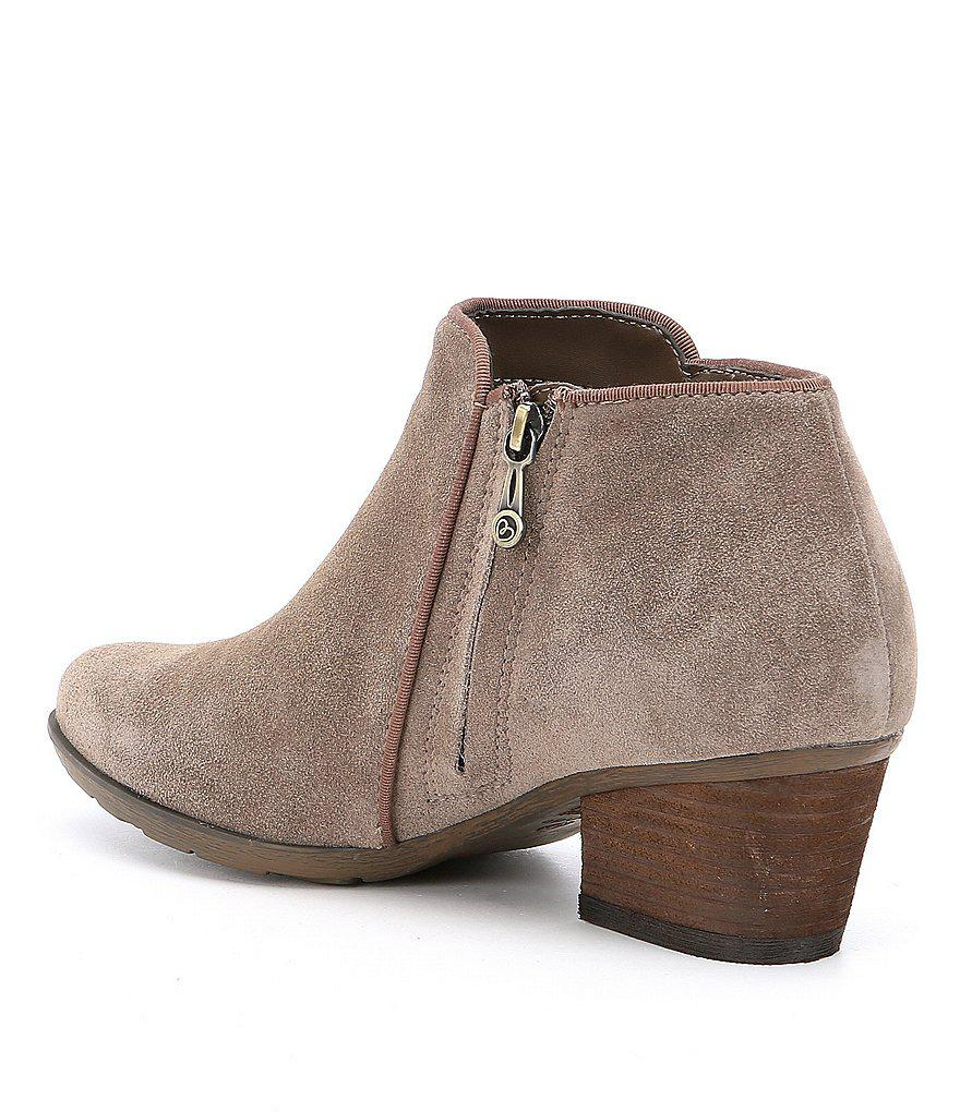 Waterproof Villa Suede Block Heel Booties 4JL400
