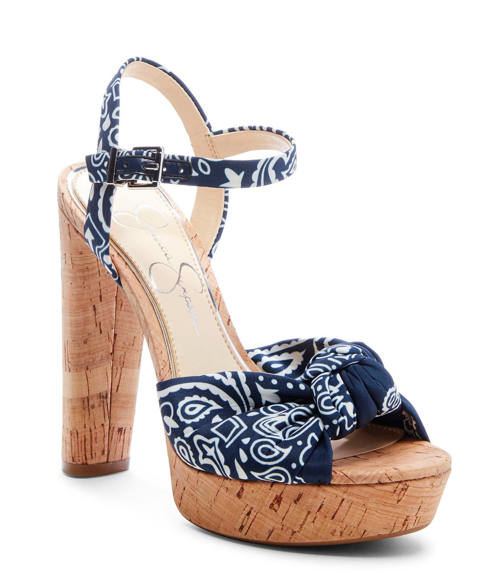 5aaa828d4f13 Lyst - Jessica Simpson Ivrey Knot   Cork Ankle-strap Sandals in Blue