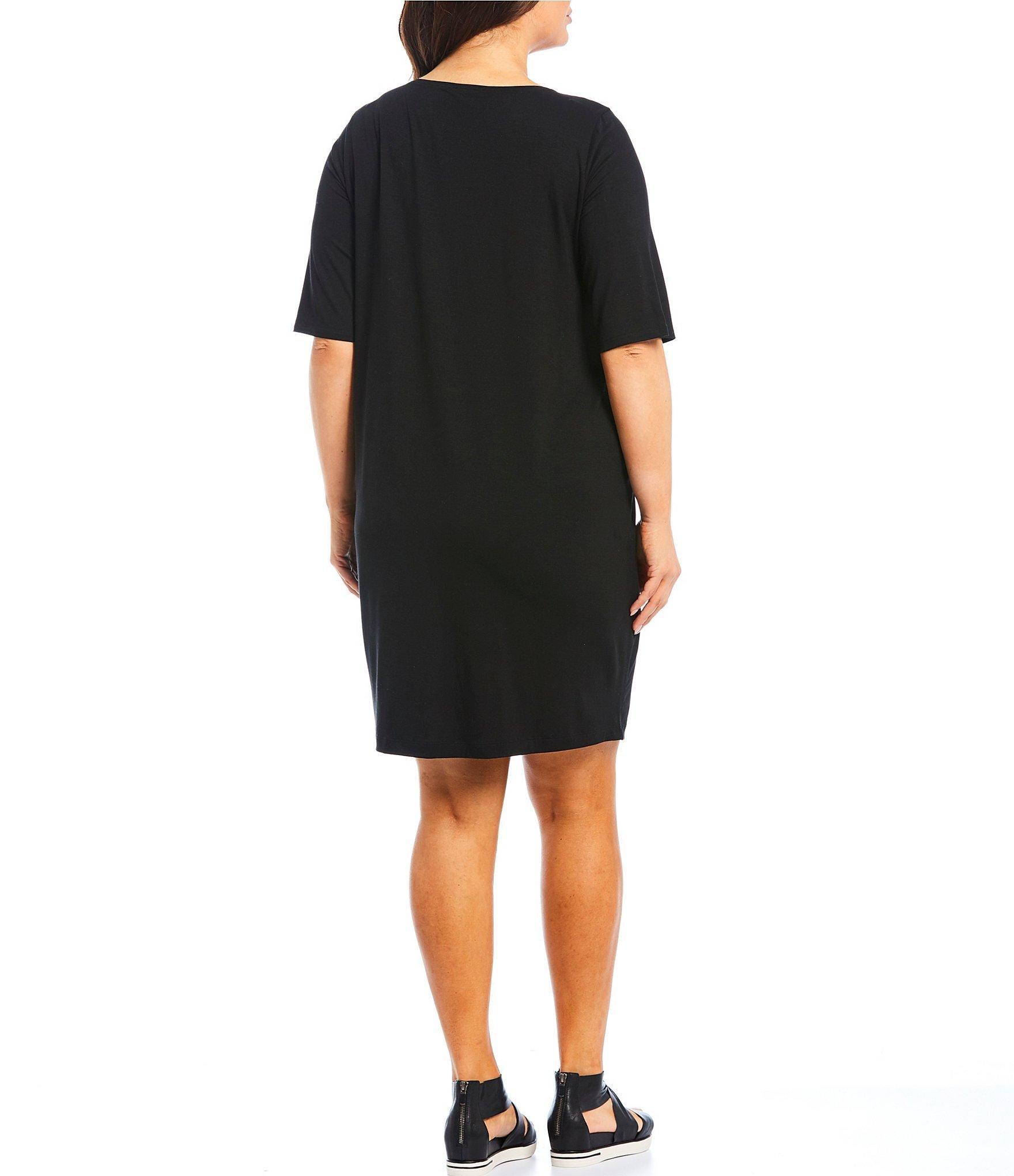 4fa0cf55c8d Eileen Fisher - Black Plus Size V-neck Elbow Sleeve Shift Dress - Lyst.  View fullscreen