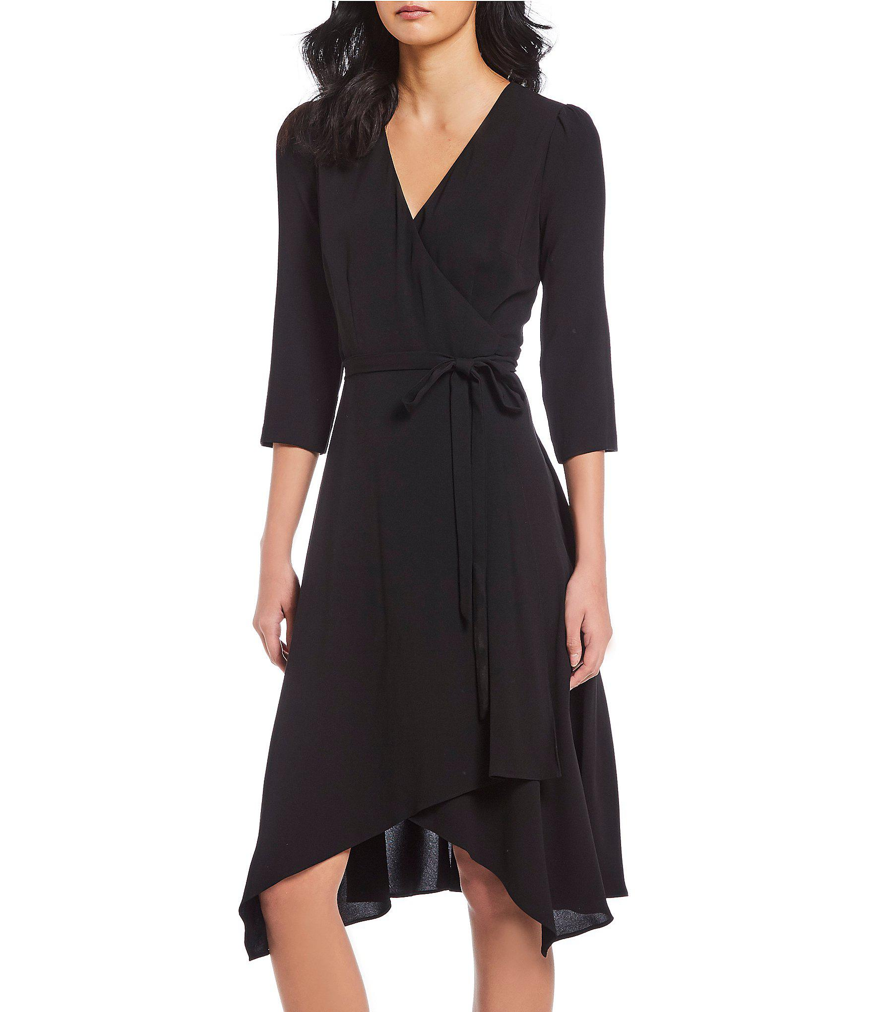 515e7496ff6 Lyst - Adrianna Papell Crepe Tie Front Wrap Dress in Black