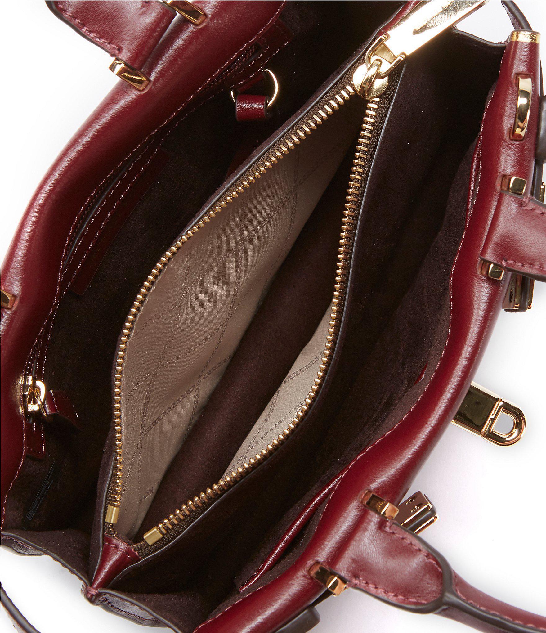 1bfe62335f04 Lyst - MICHAEL Michael Kors Tatiana Leather Turn Lock Mini Satchel Bag