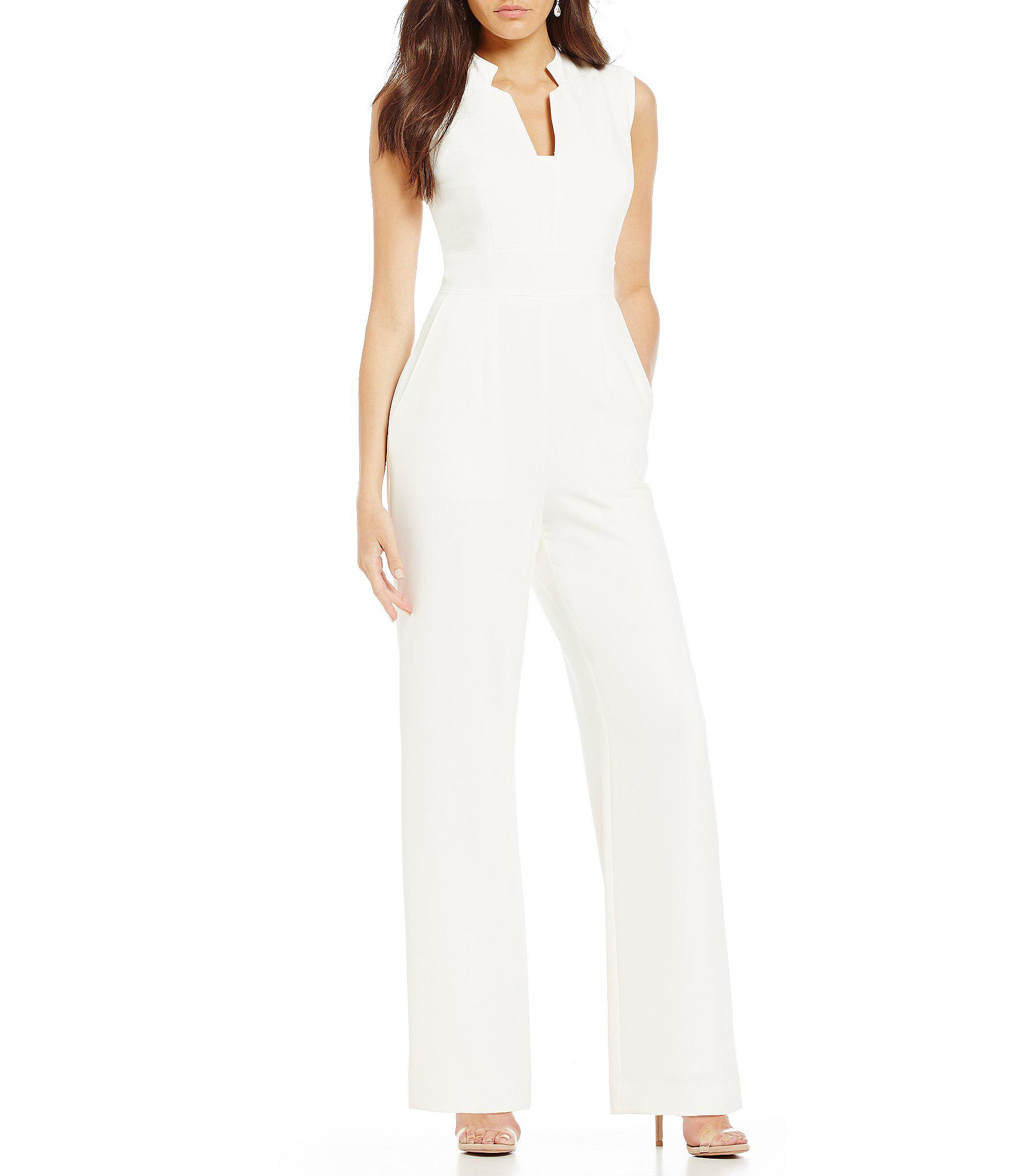 0c46b59054f Tahari. Women s White Tahari By Asl Raised Collar Sleeveless Solid Crepe  Jumpsuit