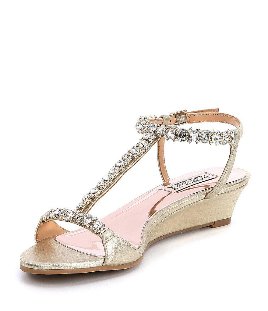 Badgley Mischka Yadira Rhinestone Jeweled Metallic Suede Wedge Dress Sandals Mp8gib