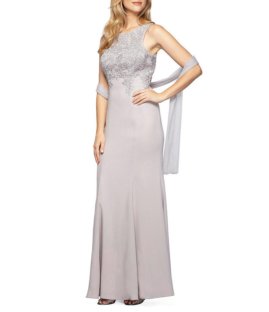 5a4c4f7cb696 Lyst - Alex Evenings Crew Neck Sleeveless Embroidered-bodice Gown