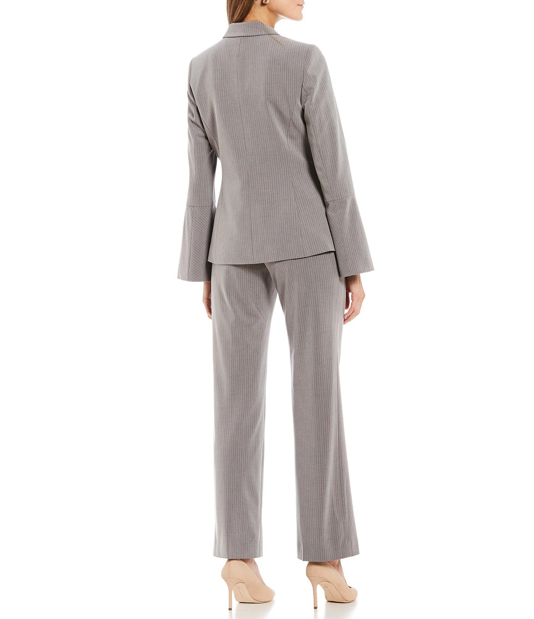 a9a3eadc70 Lyst - Tahari One Button Pinstripe Bell Sleeve Ankle Pantsuit in Gray
