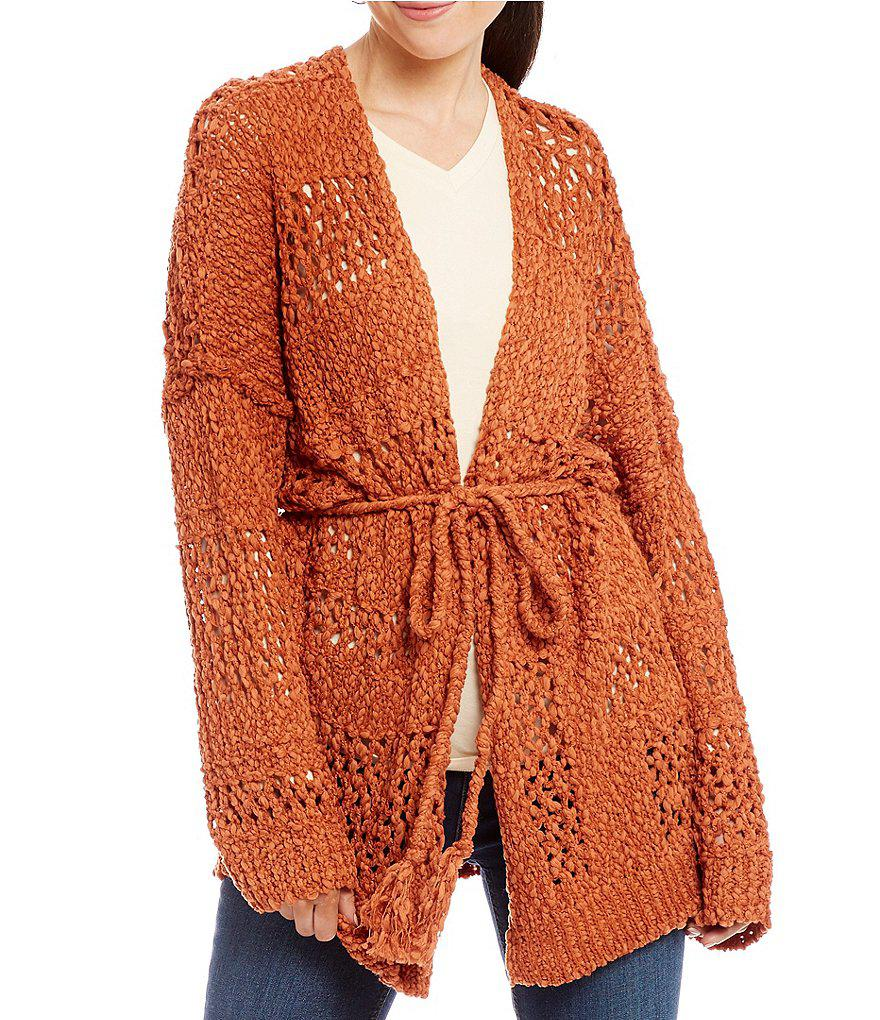 Band of gypsies Mix Stitch Open Front Cardigan in Orange | Lyst