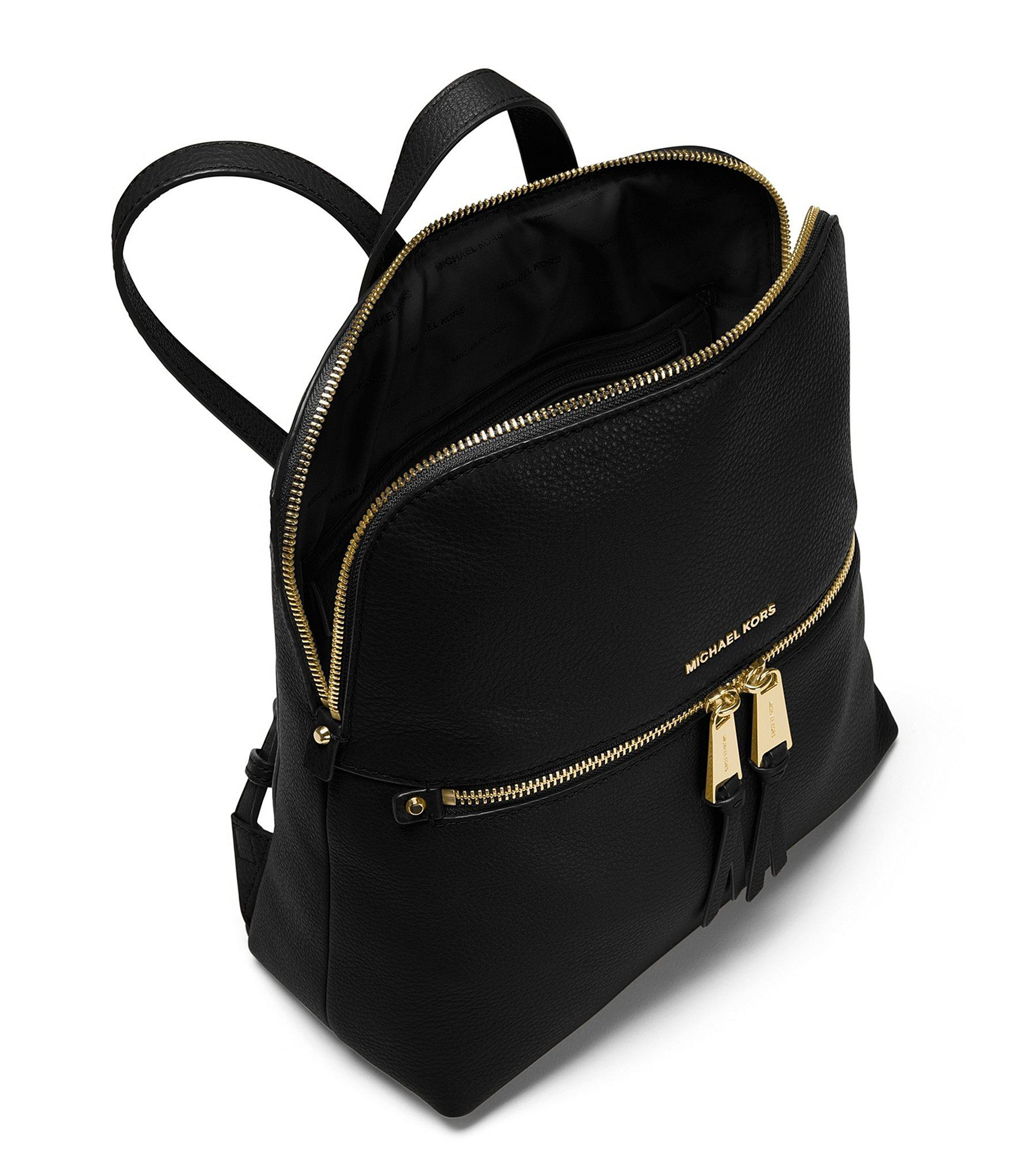 2a6d366ab5ad6 MICHAEL Michael Kors - Black Gold-tone Rhea Slim Zip Backpack - Lyst. View  fullscreen