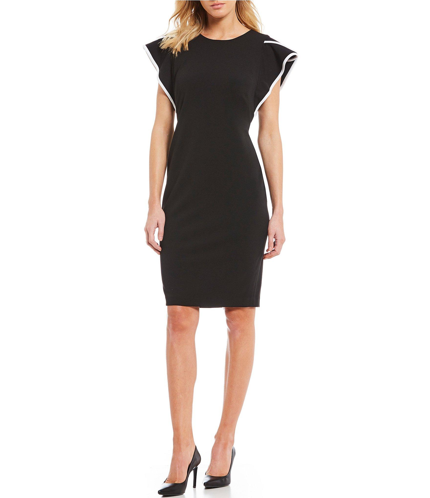 5aee54b260b Lyst - Calvin Klein Piped Ruffle Sleeve Sheath Dress in Black