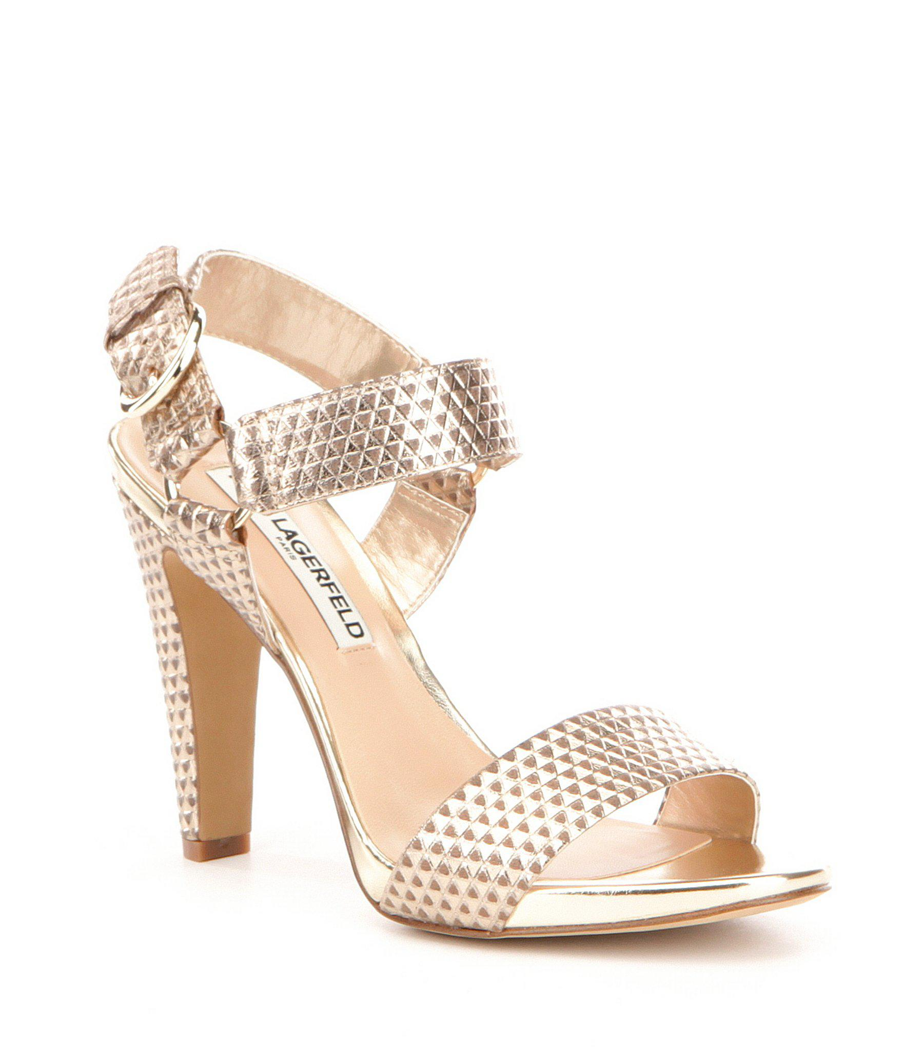 3c7a1051b2a Lyst - Karl Lagerfeld Cieone Metallic Leather Ankle Strap Dress ...