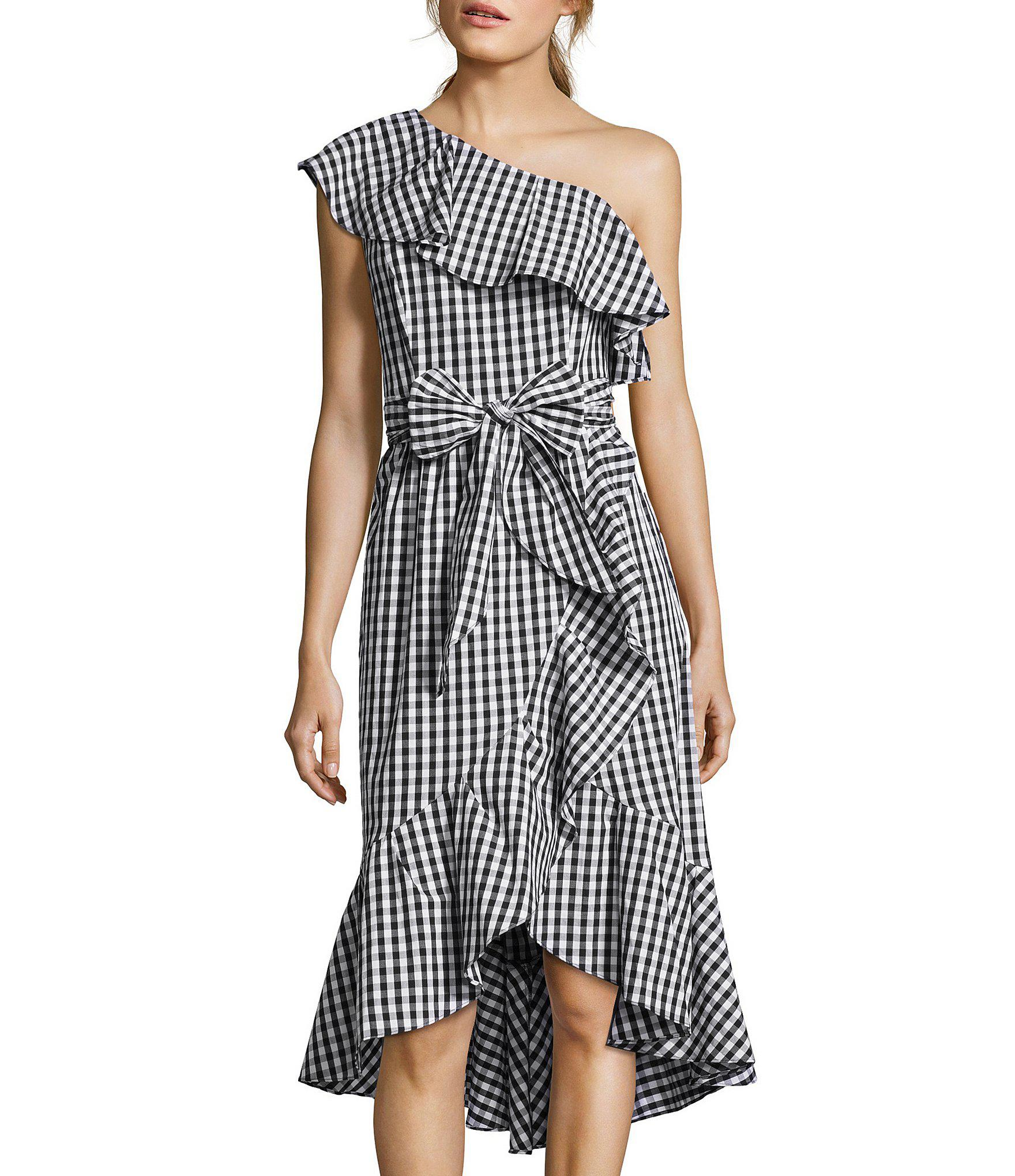 46b6c7eb8a5 Lyst - Adrianna Papell Petite Size One Shoulder Gingham Tie Waist Hi ...