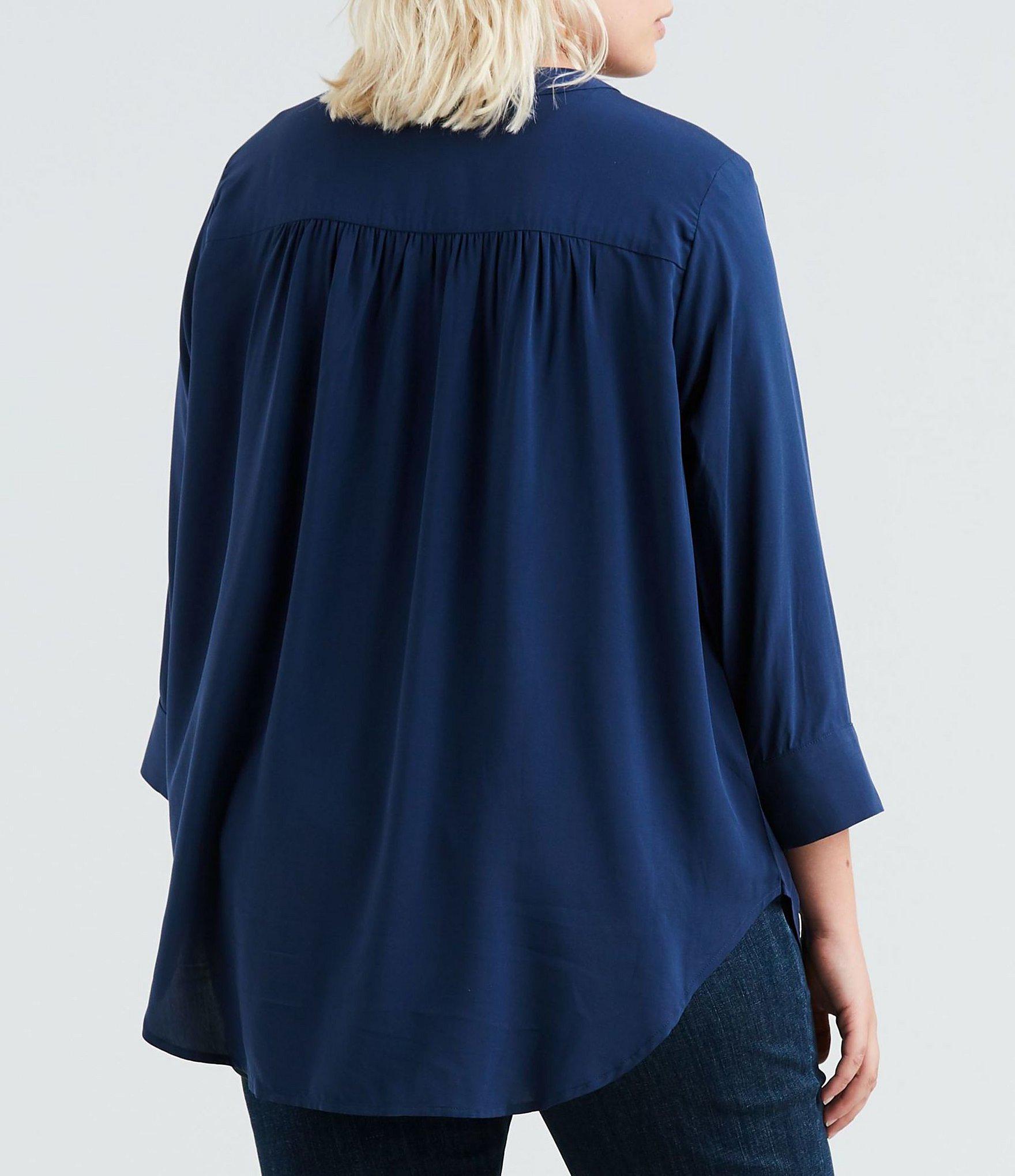 1e27fe9856b Levi s - Blue Plus Size Michaela Solid Button Front Top - Lyst. View  fullscreen