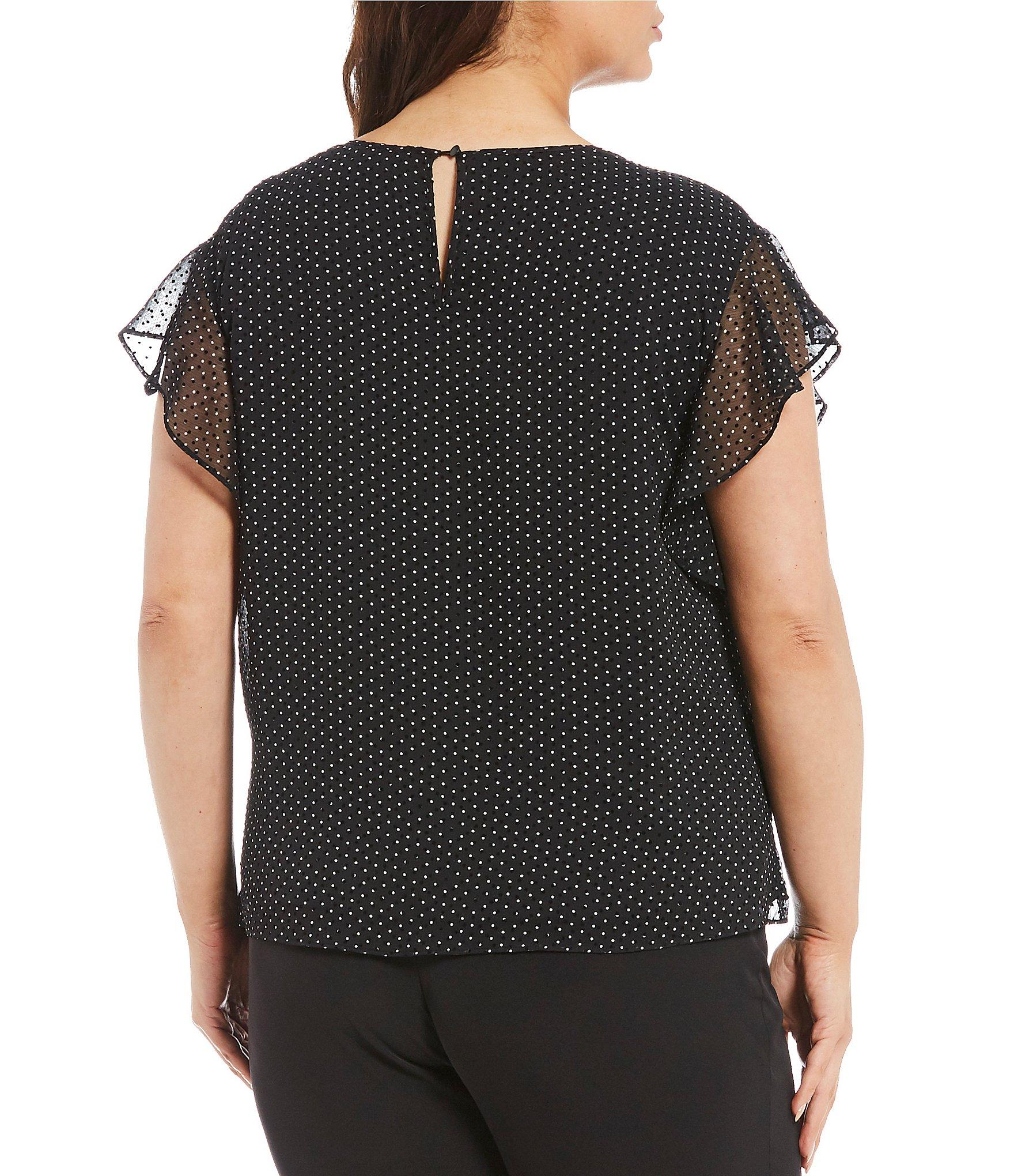 ffb7bd91d93 ... Plus Size Flutter Sleeve Ruched Neck Polka Dot Blouse - Lyst. View  fullscreen