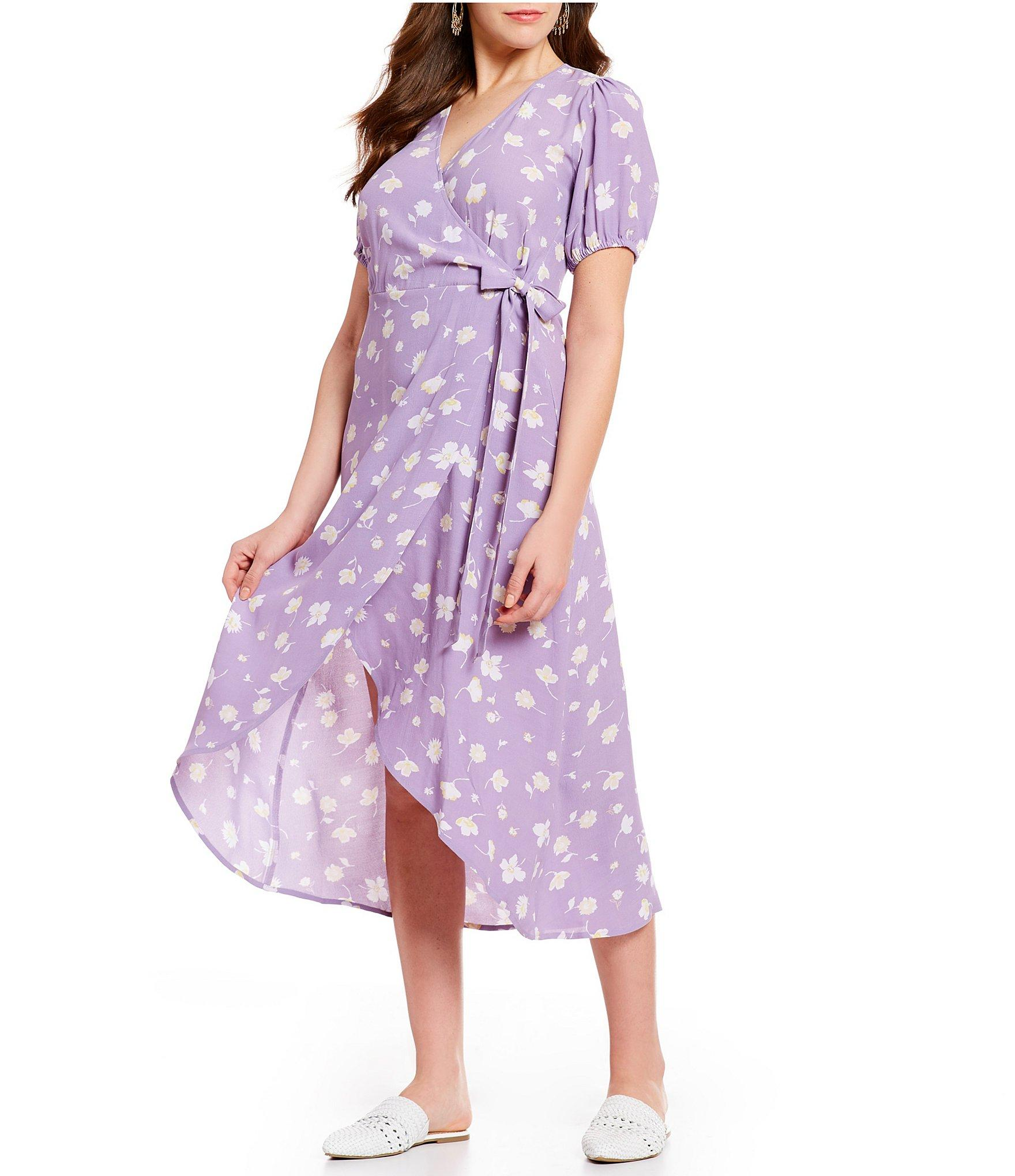 46b1ed0873 Sanctuary - Purple Meadow Floral Print Midi Length Wrap Dress - Lyst. View  fullscreen