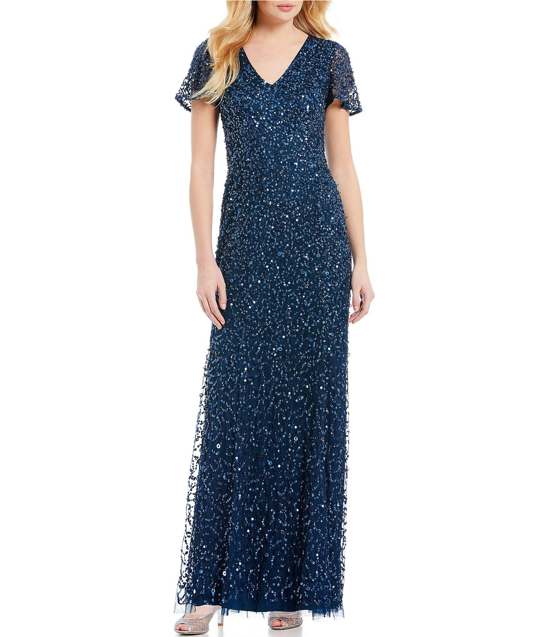 c82ba4cc Lyst - Adrianna Papell V Neck Sequin Gown in Blue