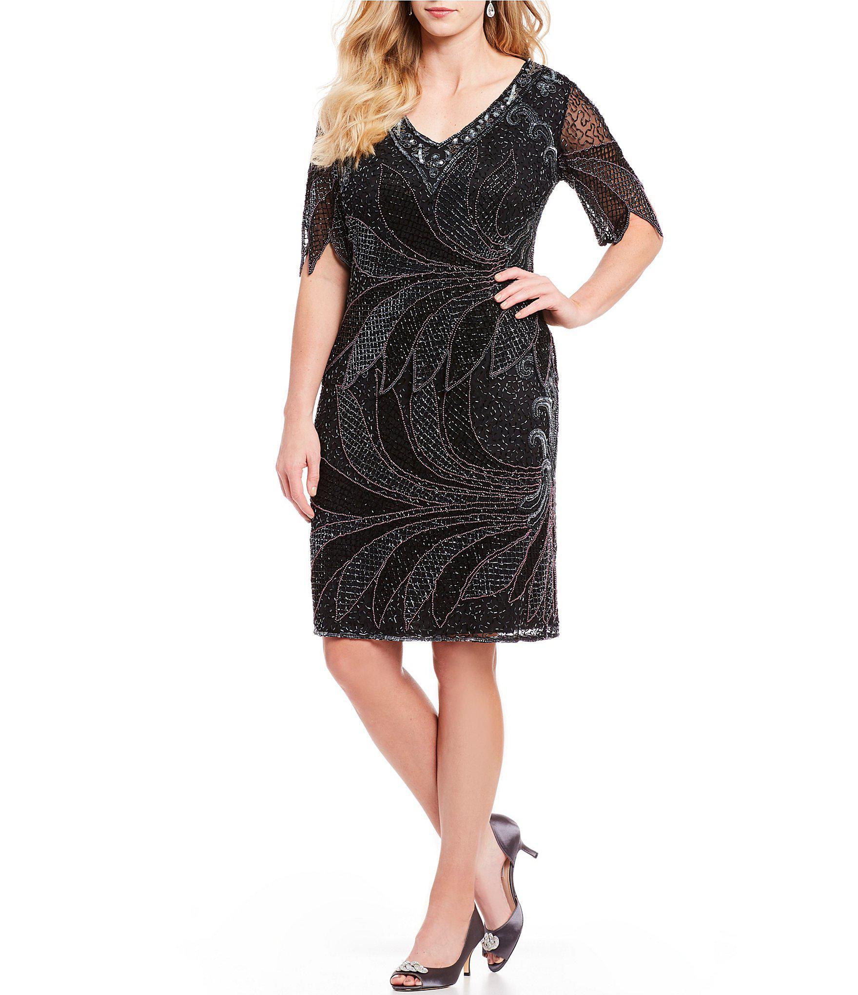 ea49dbf896e Pisarro Nights - Black Plus Size Short Sleeve Mock Beaded 2-piece Dress -  Lyst. View fullscreen