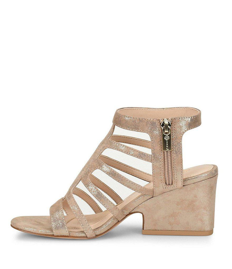 Lina Suede Caged Block Heel Sandals 1DLNL