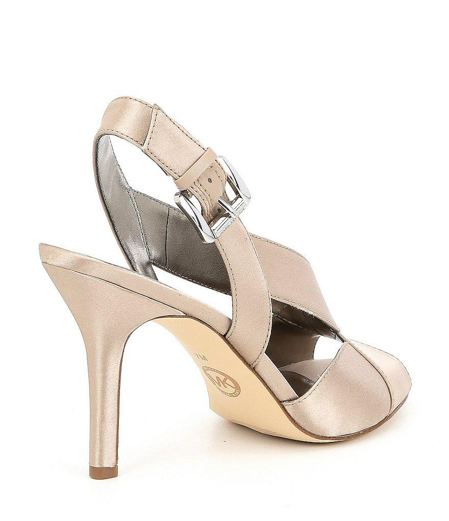 6efbf5b1652f MICHAEL Michael Kors - Multicolor Becky Satin Cross Strap Dress Sandals -  Lyst. View fullscreen