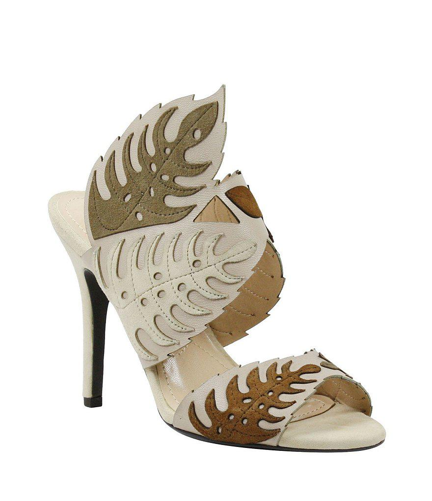J. Renee Anhelina Leather Leaf Detail Dress Mules r3rWbK0rdV