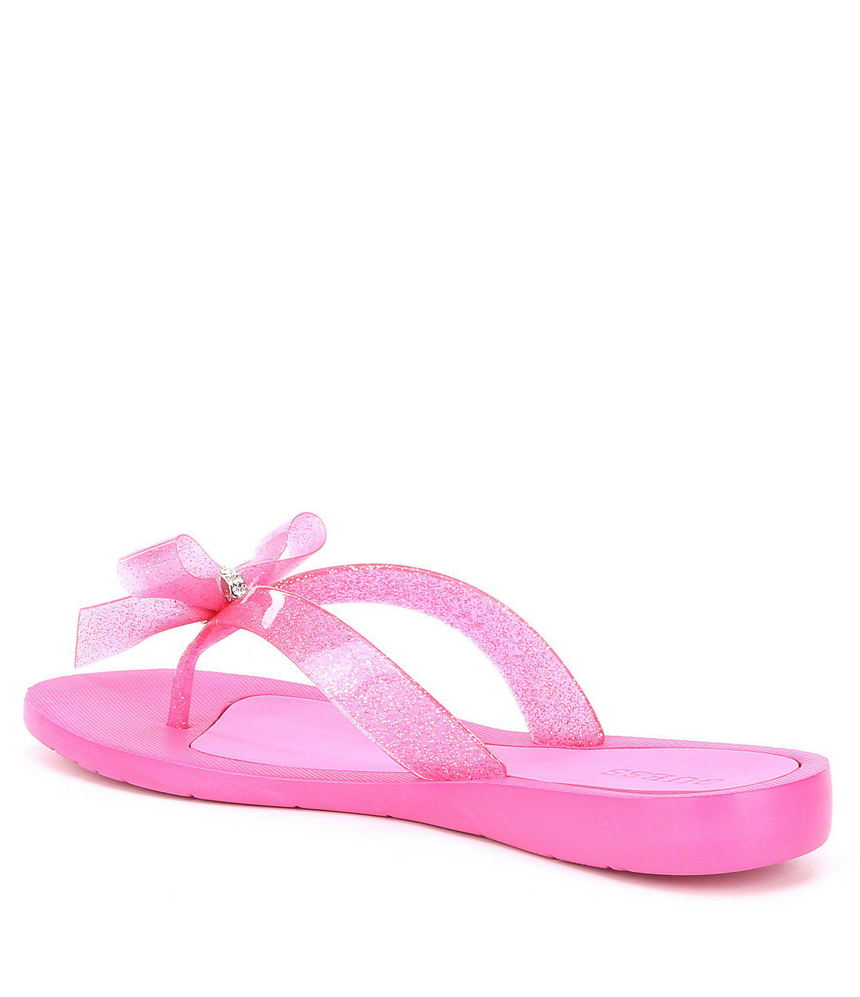 ffd445b27c8a9 Lyst - Guess Tutu 9 Glitter Bow Detail Flip Flops in Pink