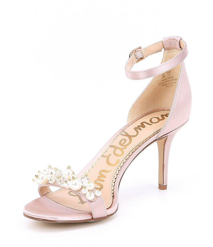 40675d73aa36 Lyst - Sam Edelman Platt Pearl Detail Satin Dress Sandals in Black