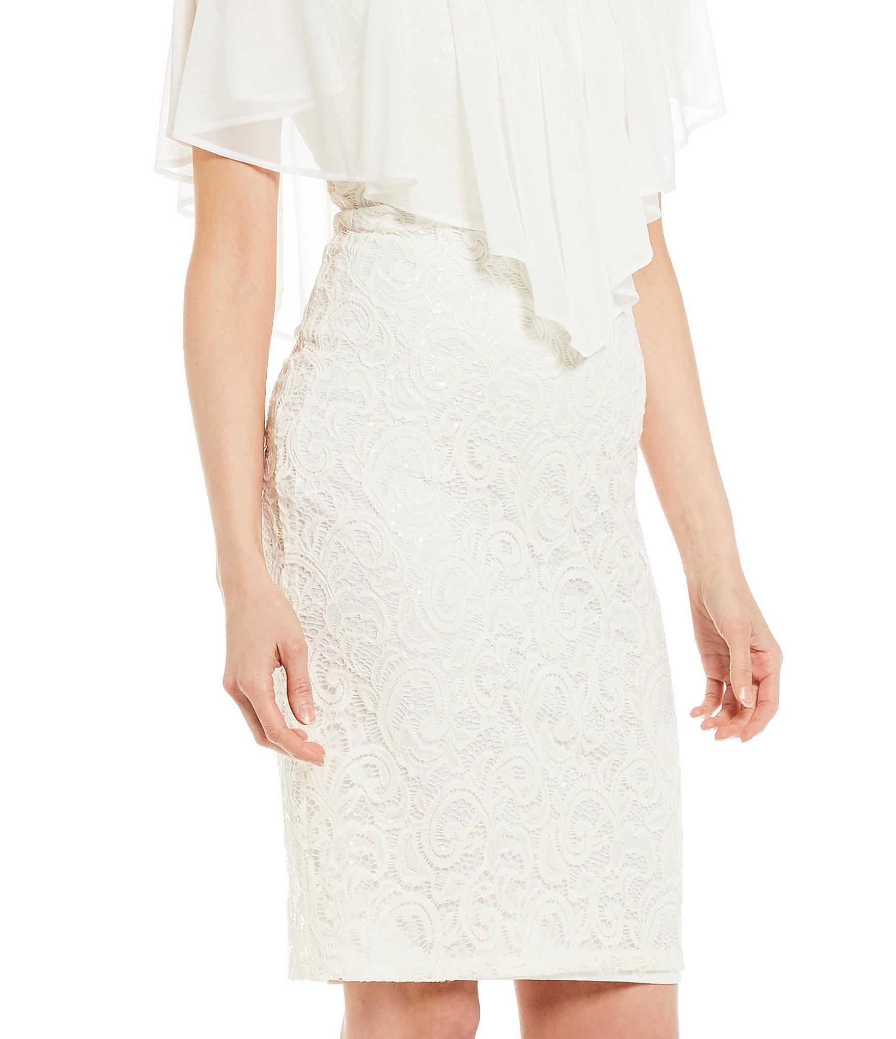 4c1907f91f Marina - White Chiffon Popover Sequin Lace Sheath Dress - Lyst. View  fullscreen