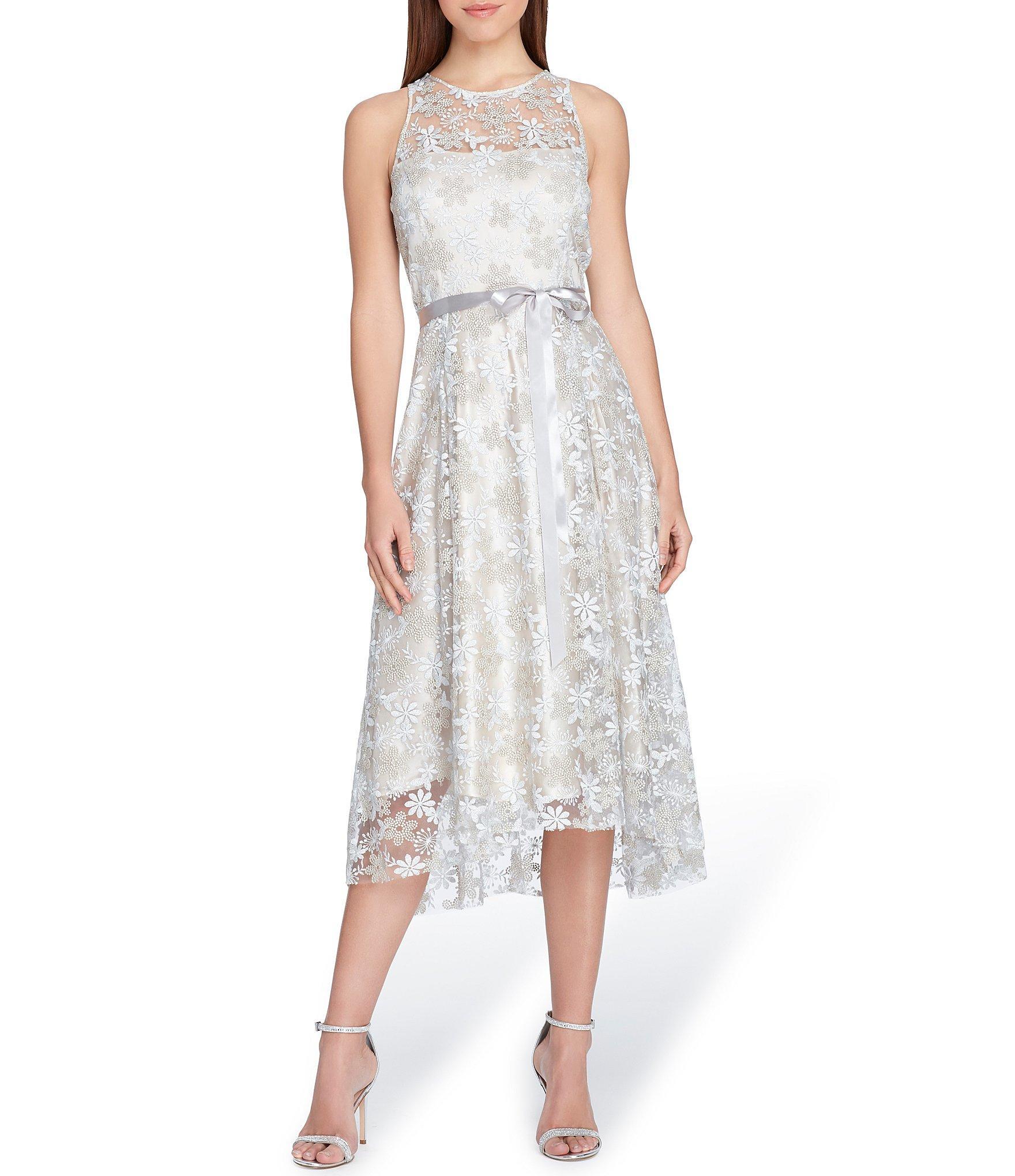 3c8f245b Lyst - Tahari Embroidered Fit & Flare Dress in Metallic