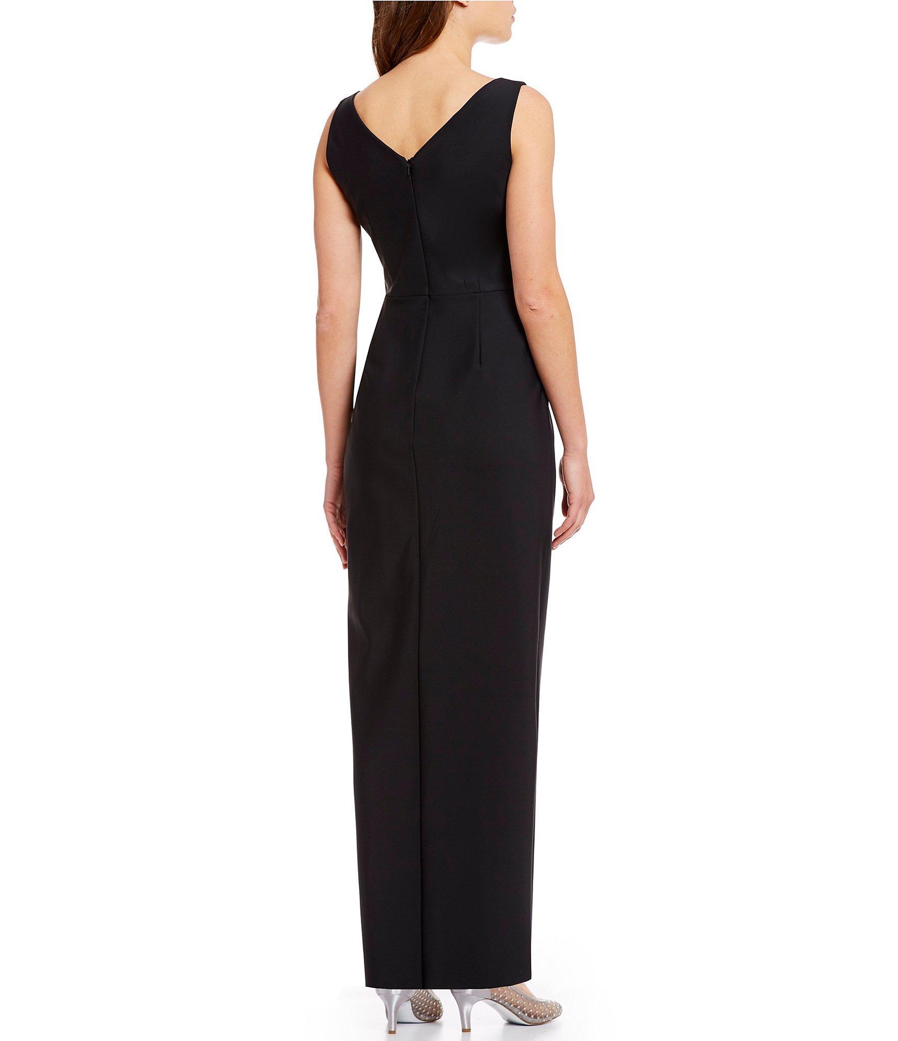 3ab8d5b1738c3 Alex Evenings - Black Sleeveless Surplice Neckline Beaded Detail Sheath  Dress - Lyst. View fullscreen