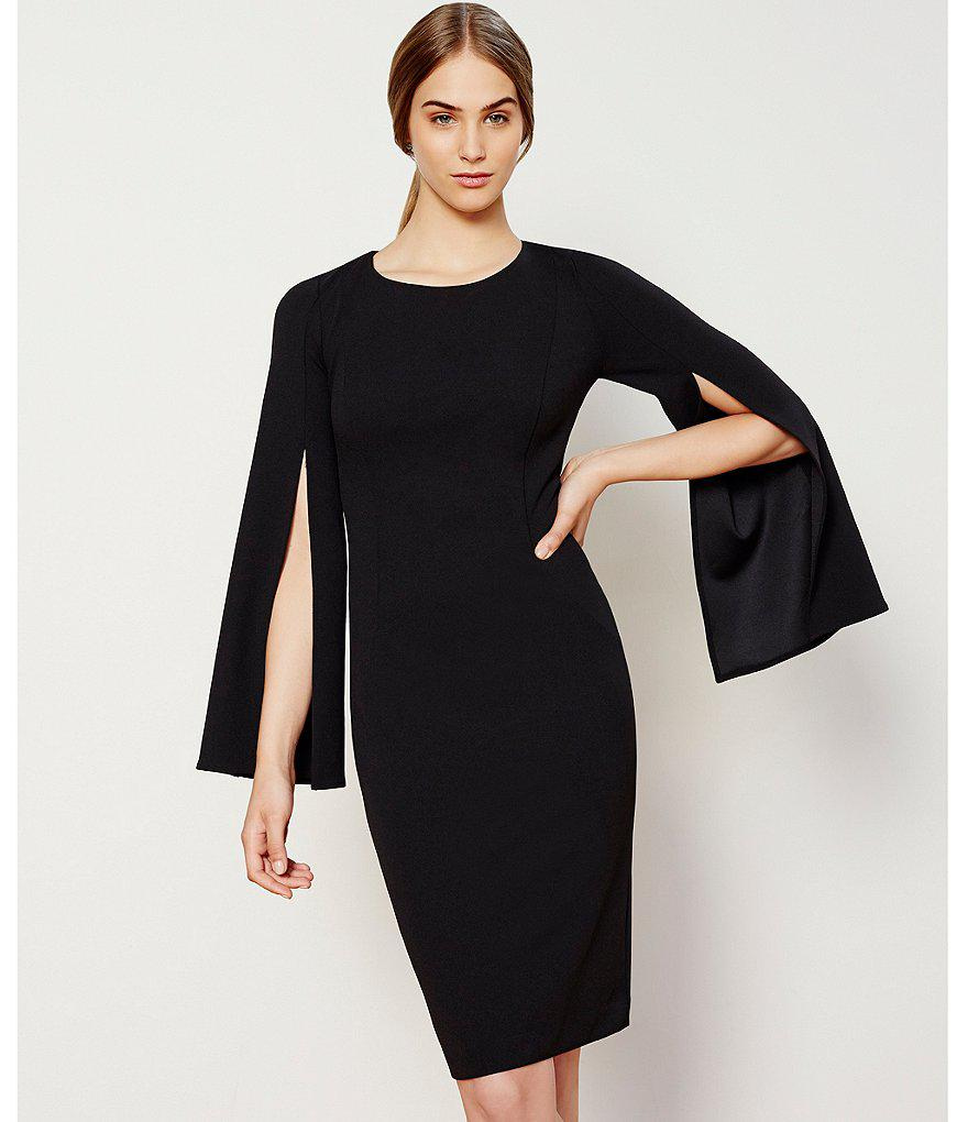 Lyst Calvin Klein Split Bell Sleeve Sheath Dress In Black