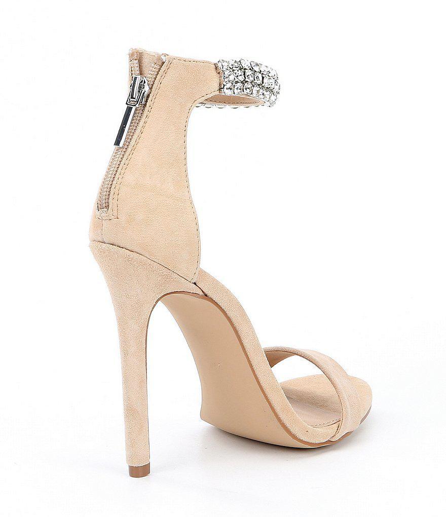 Rando Suede Rhinestone Ankle Strap Dress Sandals KASEvl0