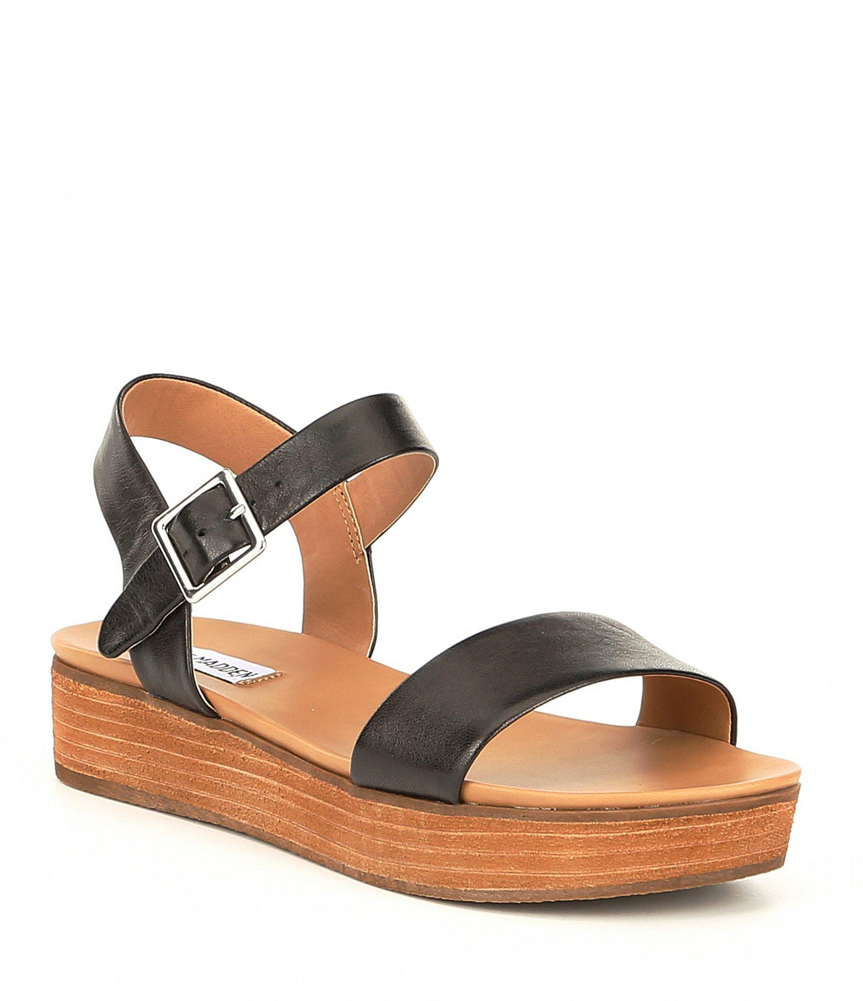 952a82cd77de Lyst - Steve Madden Aida Leather Wood Flatform Sandals in Brown