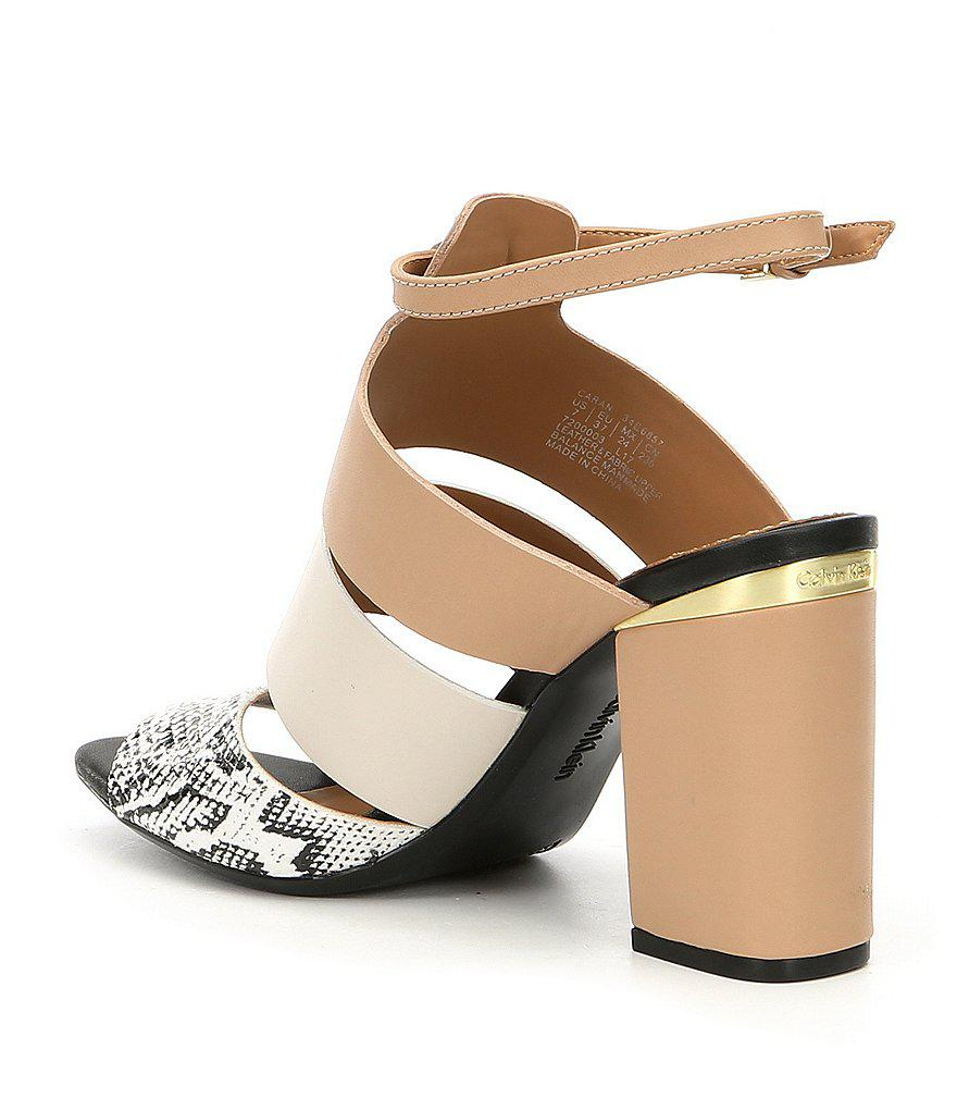 Caran Colorblock Snake Print Block Heel Dress Sandals HALpNRM