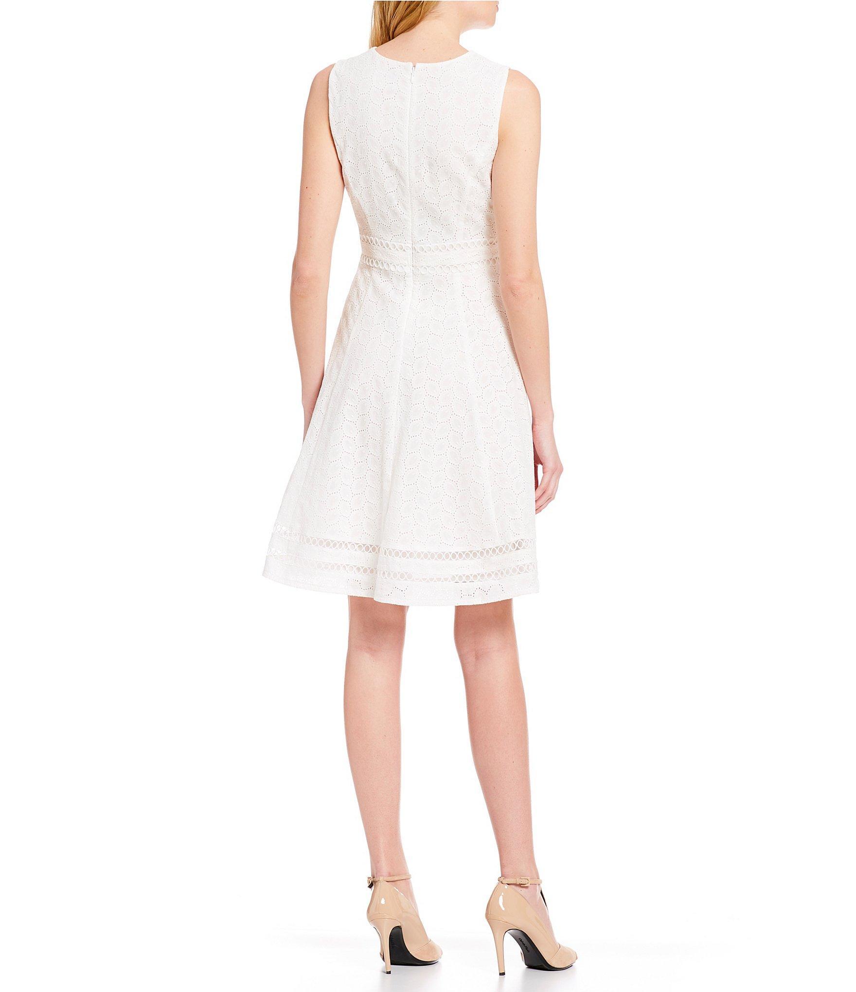 2ac5d1e9ea4 Lyst - Calvin Klein Sleeveless Eyelet Illusion Hem Fit   Flare Dress ...