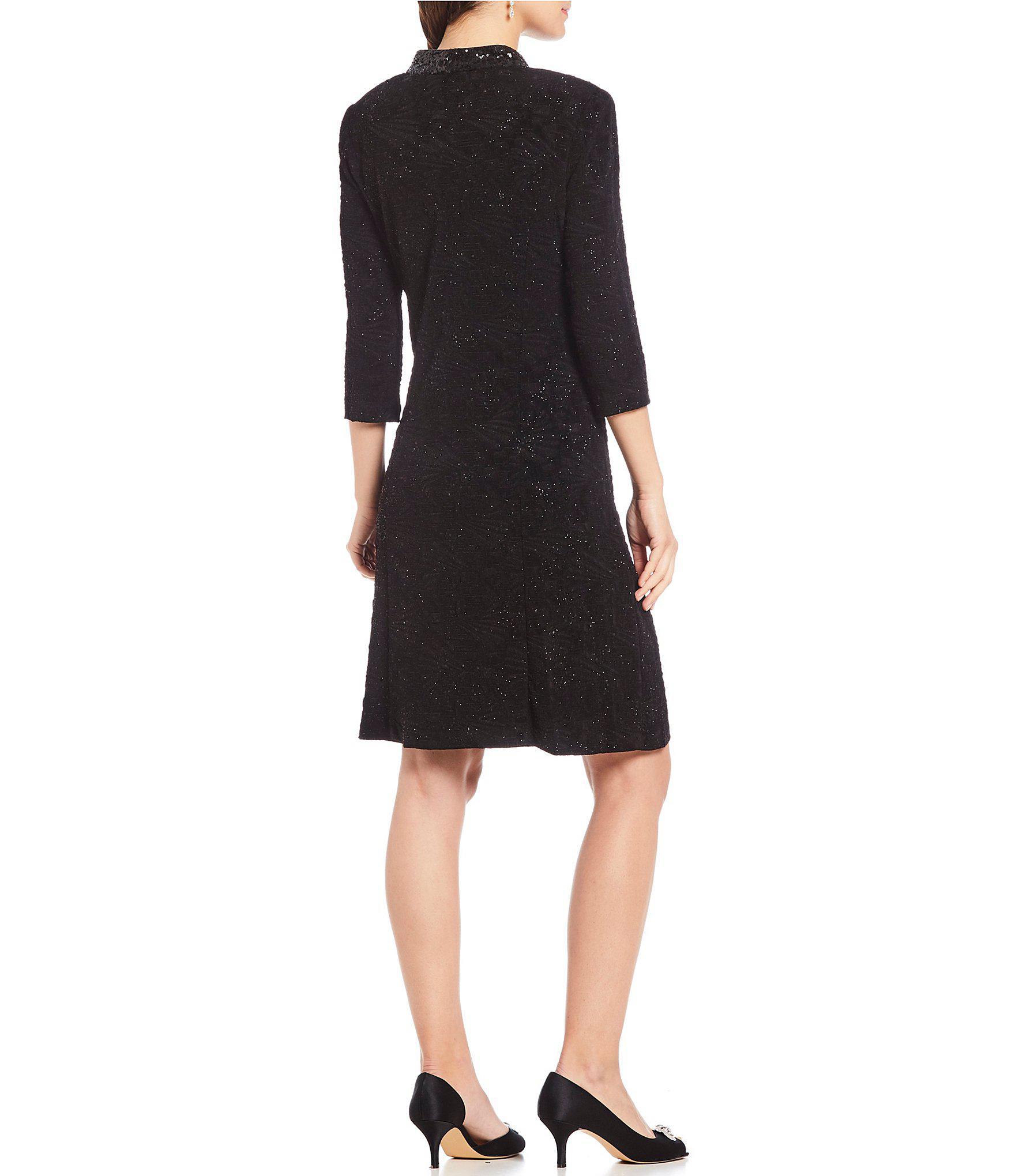 8825dd4badf Lyst - Alex Evenings Petite Size Glitter Jacquard Sequin Trim Jacket ...