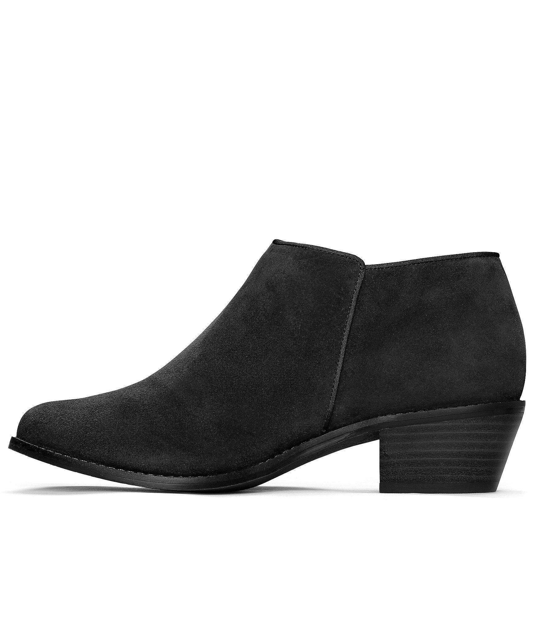 f8b6f7fd9f3bc Vionic - Black Serena Water Resistant Suede Zipper With Tassel Pull Block  Heel Ankle Boots -. View fullscreen